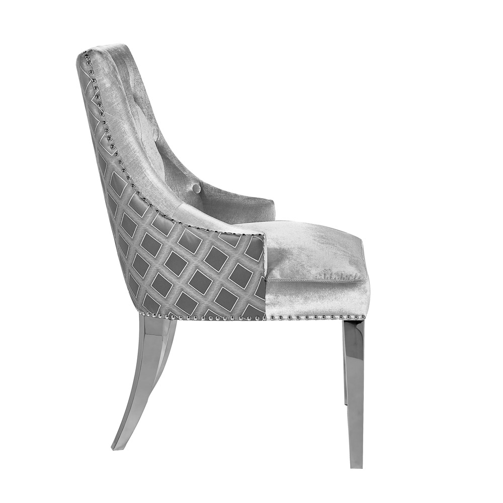 Oscar Grey Two Tone Velvet Steel Chair - Xcella for Oscar 60 Inch Console Tables (Image 25 of 30)
