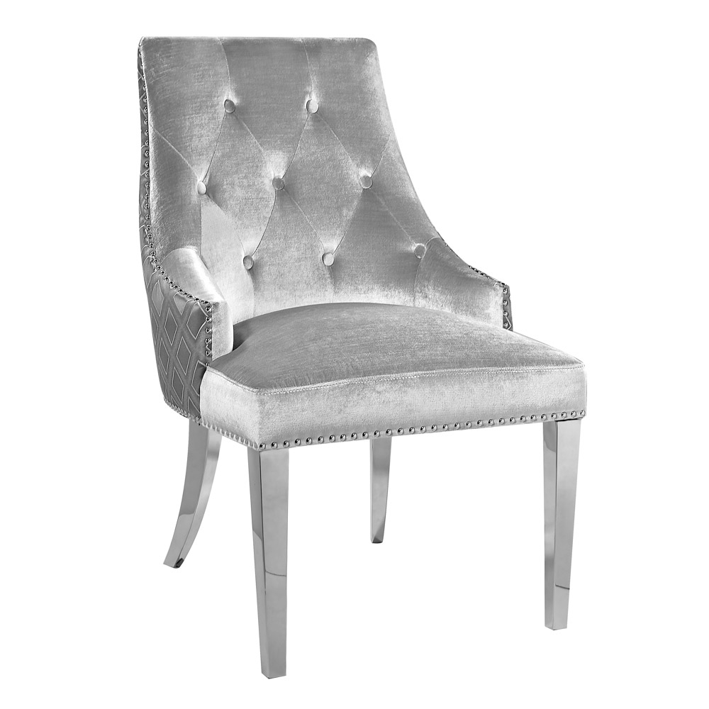 Oscar Grey Two Tone Velvet Steel Chair - Xcella in Oscar 60 Inch Console Tables (Image 26 of 30)