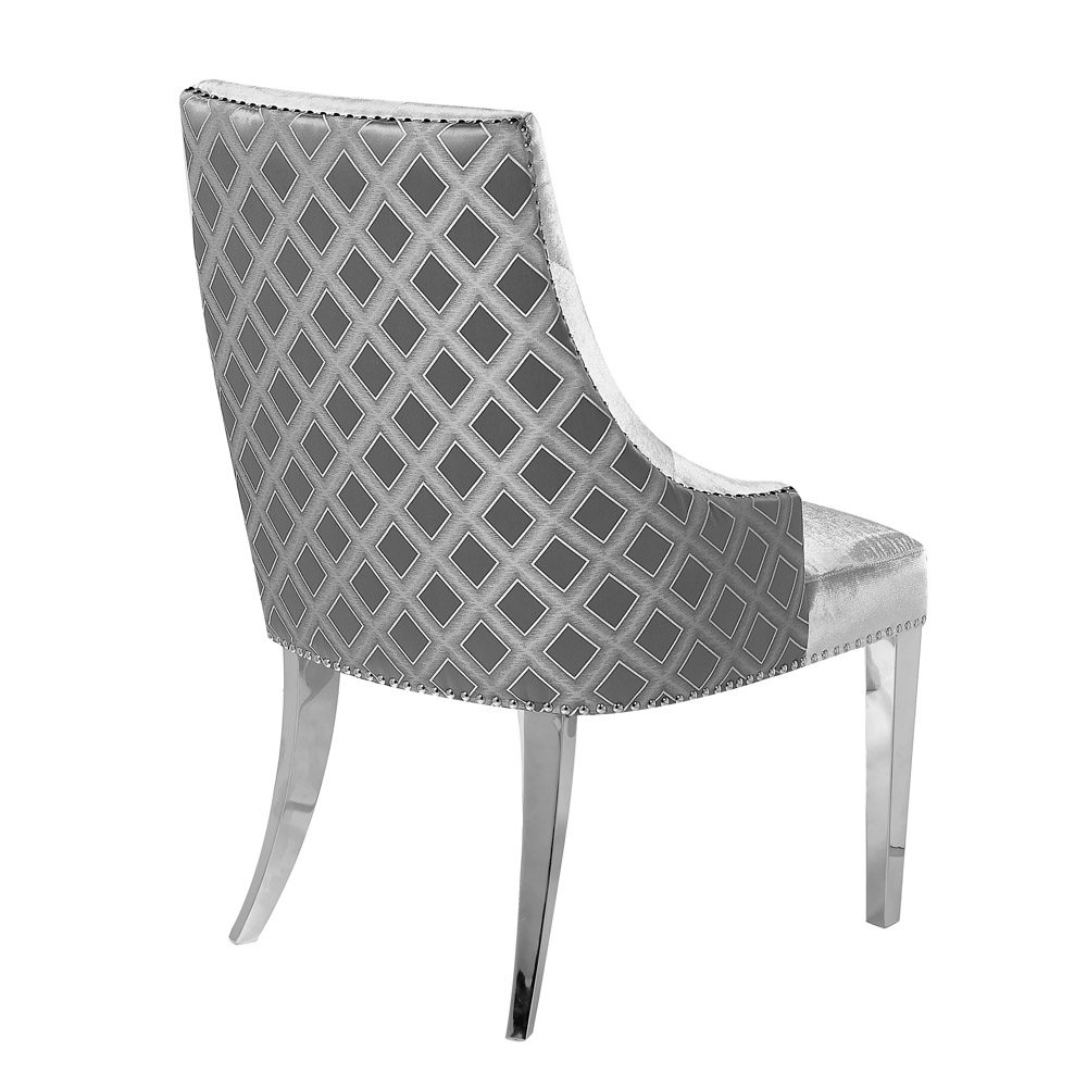 Oscar Grey Two Tone Velvet Steel Chair – Xcella Pertaining To Oscar 60 Inch Console Tables (View 23 of 30)