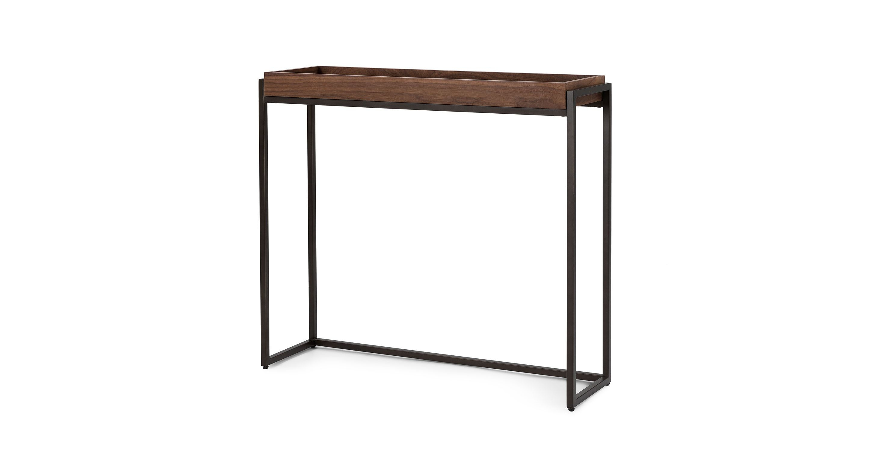 Oscuro Walnut Console intended for Parsons Walnut Top & Brass Base 48X16 Console Tables (Image 21 of 30)