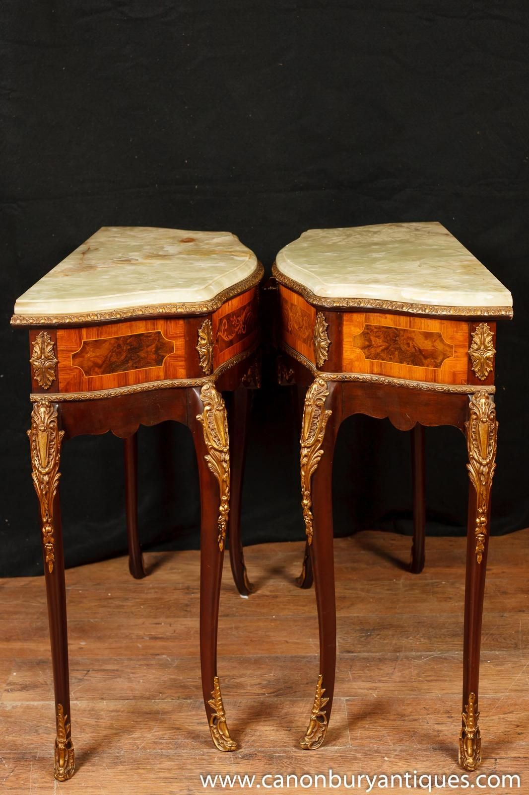 Pair Of Antique French Napoleon Ii Side Console Tables With Onyx Top With Orange Inlay Console Tables (View 25 of 30)