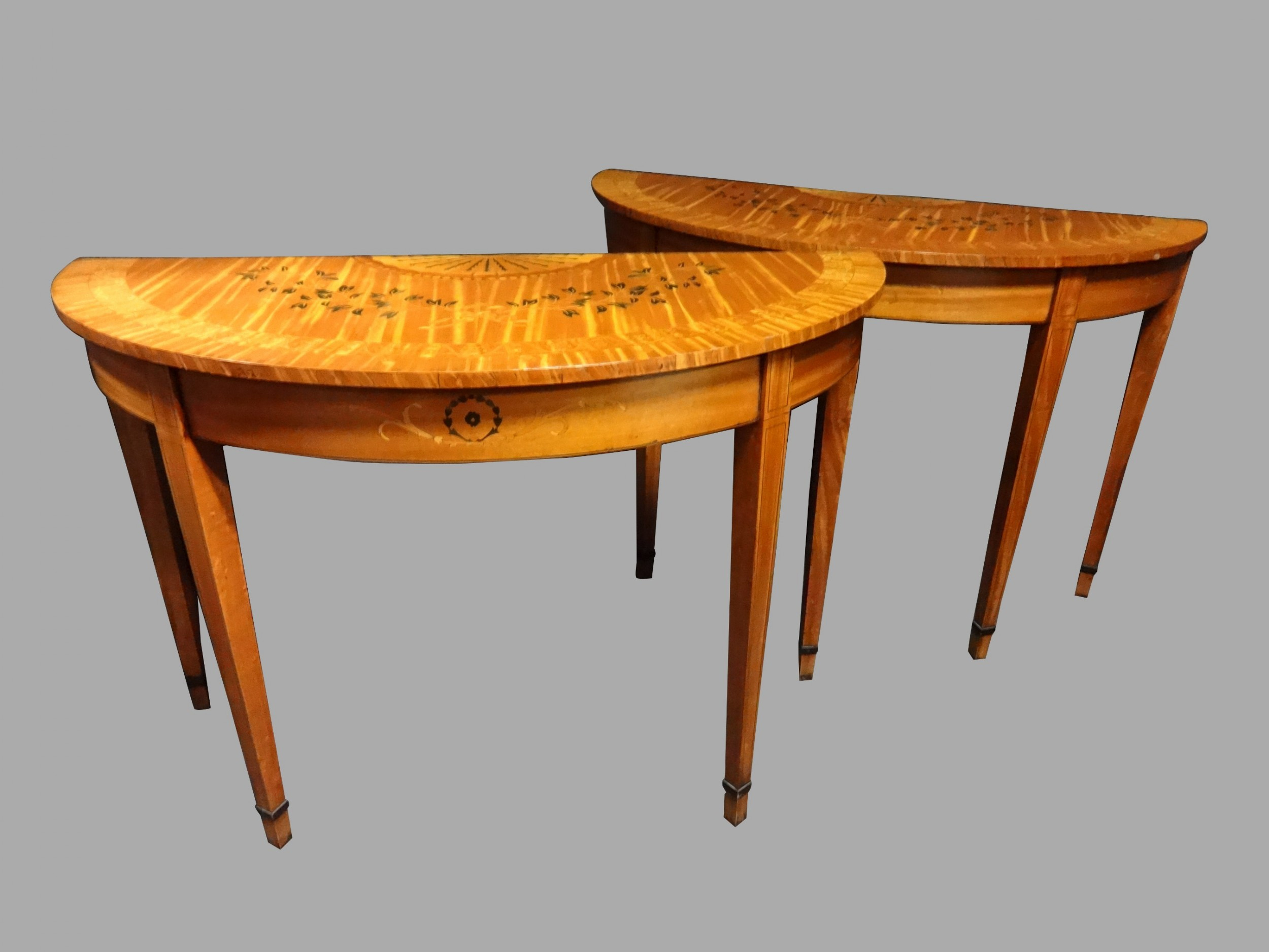 Pair Satinwood Inlaid Console Tables | 593004 | Sellingantiques.co (View 26 of 30)