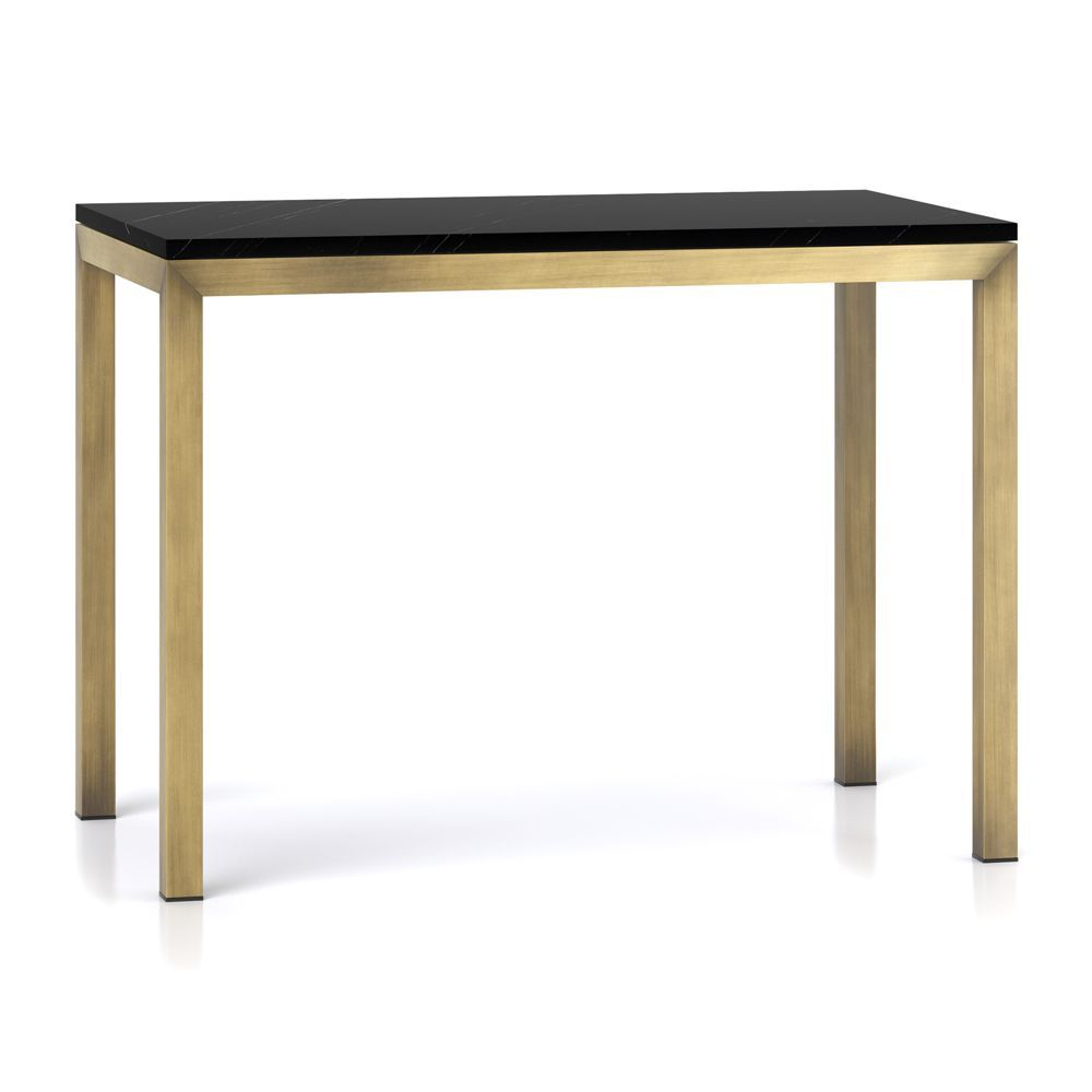 Parsons Black Marble Top/ Brass Base 48X28 High Dining Table Inside Parsons Clear Glass Top & Stainless Steel Base 48X16 Console Tables (Photo 3 of 30)