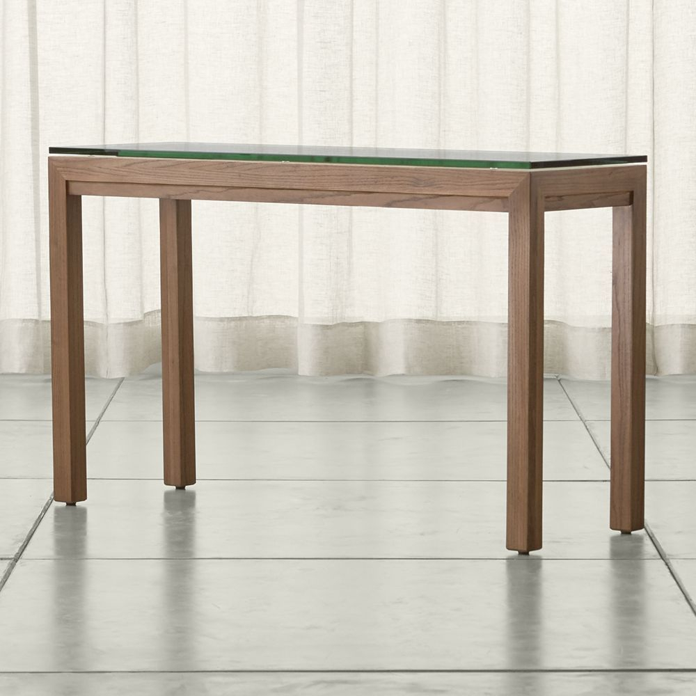Parsons Clear Glass Top Elm Base 48×16 Console Products Crate And Regarding Parsons Concrete Top & Brass Base 48X16 Console Tables (Photo 11 of 30)