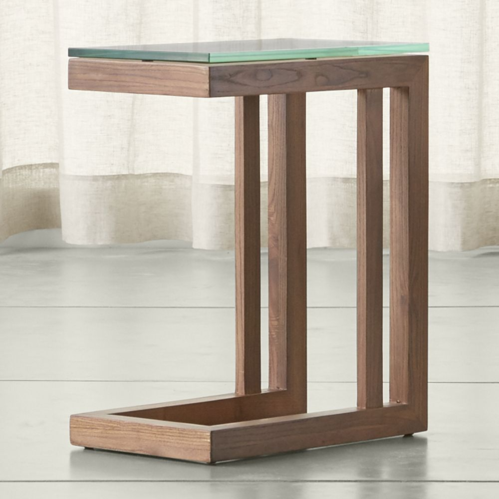 Parsons Elm C Table With Clear Glass Top | Products Pertaining To Parsons Grey Marble Top & Dark Steel Base 48x16 Console Tables (View 6 of 30)