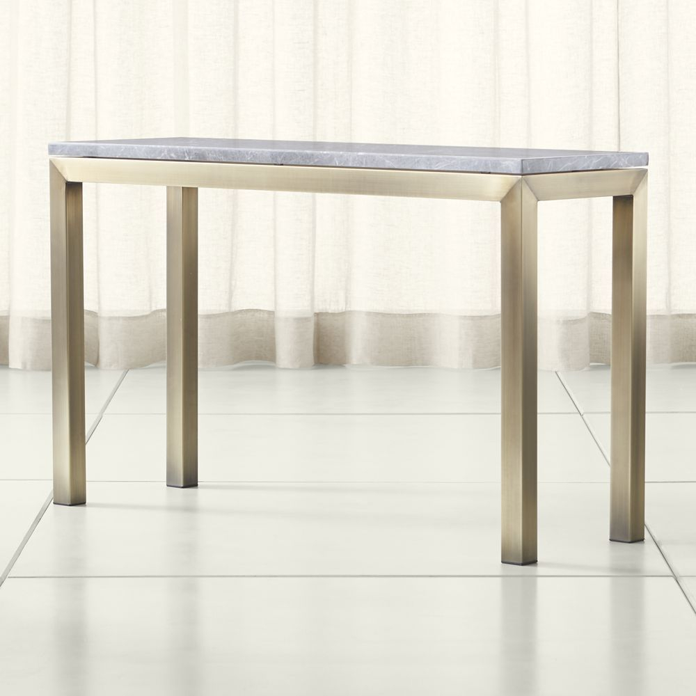 Parsons Grey Marble Top/ Brass Base 48X16 Console | Marble Top And Within Parsons White Marble Top & Brass Base 48X16 Console Tables (Photo 2 of 30)