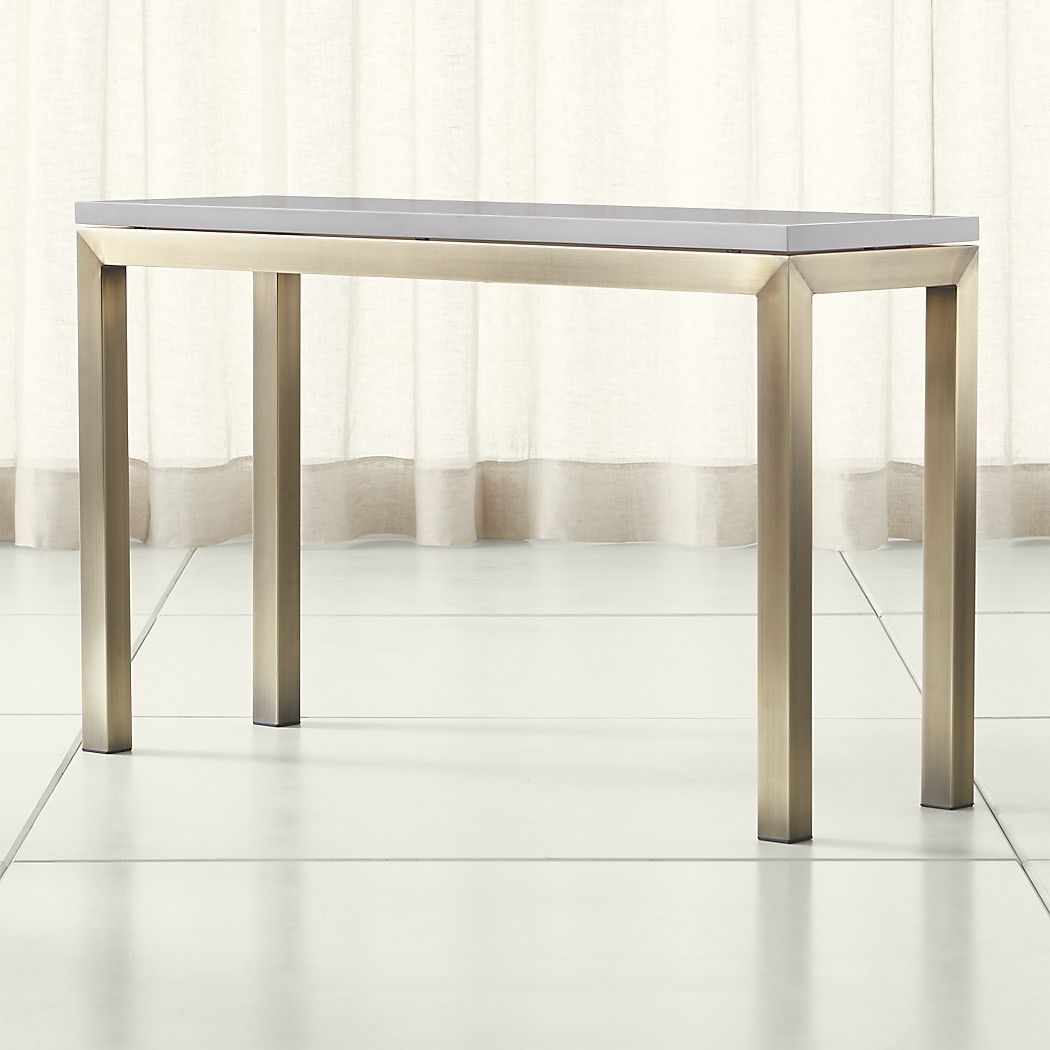 Parsons Grey Solid Surface Top/ Brass Base 48X16 Console Throughout Parsons Grey Solid Surface Top & Dark Steel Base 48X16 Console Tables (Photo 1 of 30)
