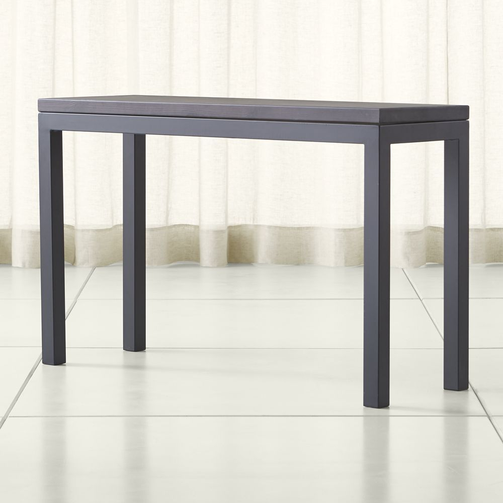 Featured Photo of Parsons Travertine Top & Dark Steel Base 48X16 Console Tables