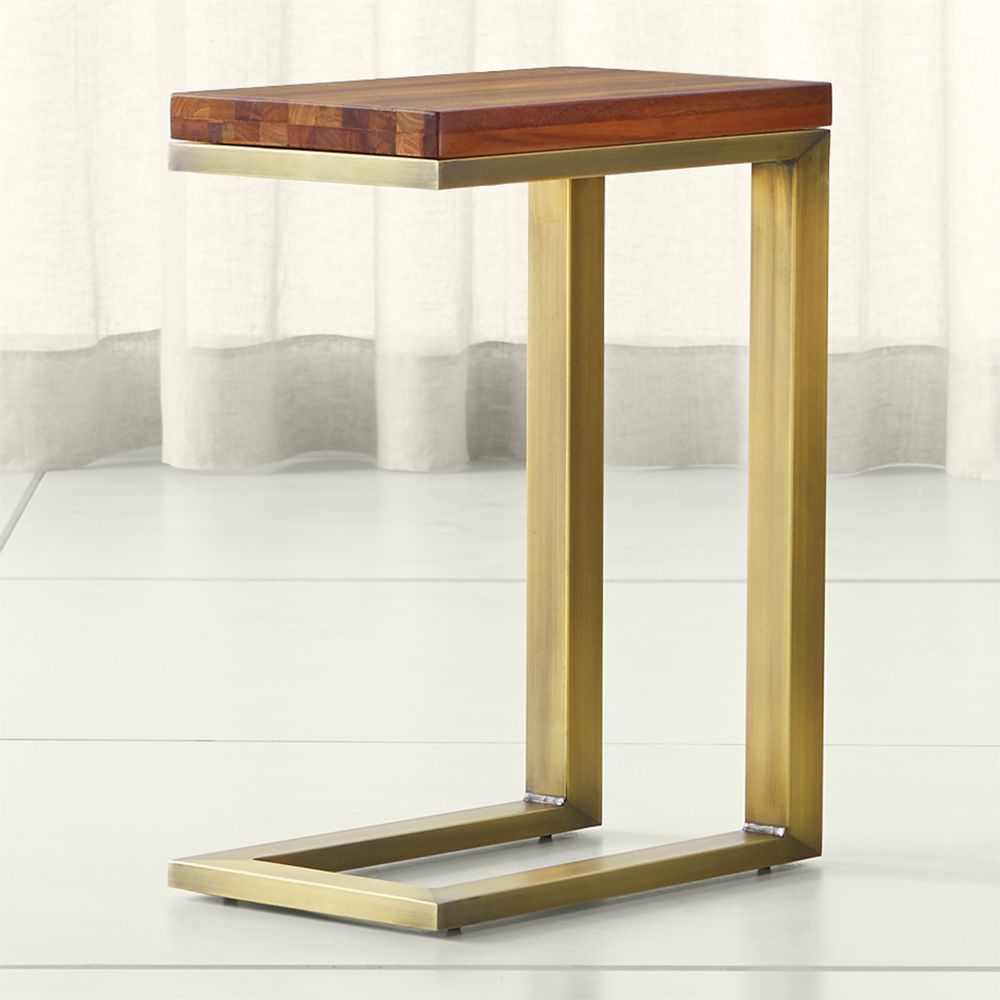 Parsons Reclaimed Wood Top/ Brass Base 20x12 C Table | Products Throughout Elke Glass Console Tables With Brass Base (View 14 of 30)
