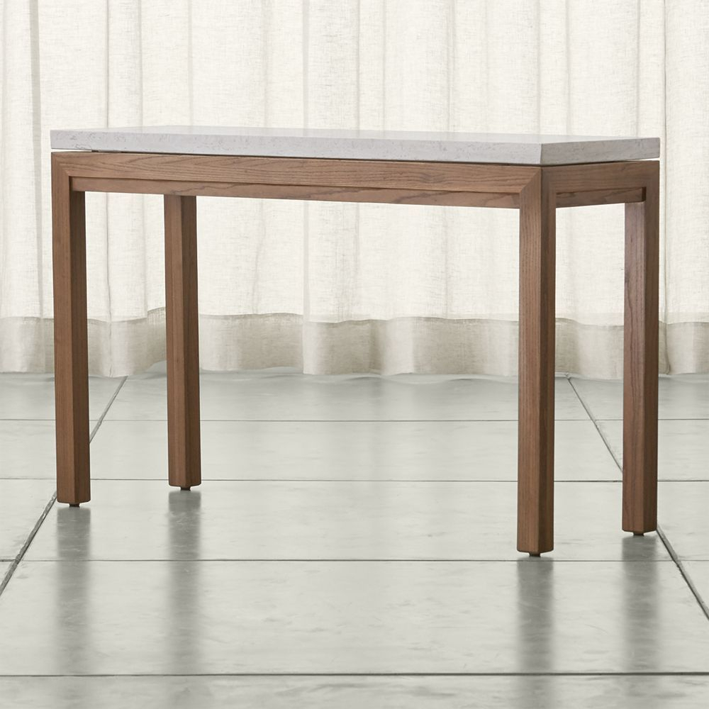 Parsons Travertine Top/ Elm Base 48X16 Console | Products intended for Parsons Concrete Top & Stainless Steel Base 48X16 Console Tables (Image 26 of 30)