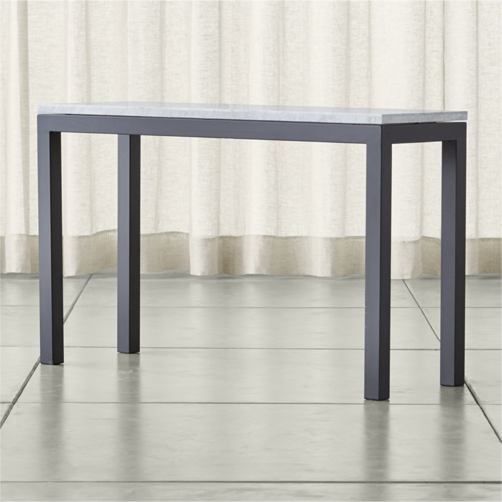 Parsons White Marble Top/ Dark Steel Base 48X16 Console | Marble Top Inside Parsons White Marble Top & Elm Base 48X16 Console Tables (Photo 1 of 30)