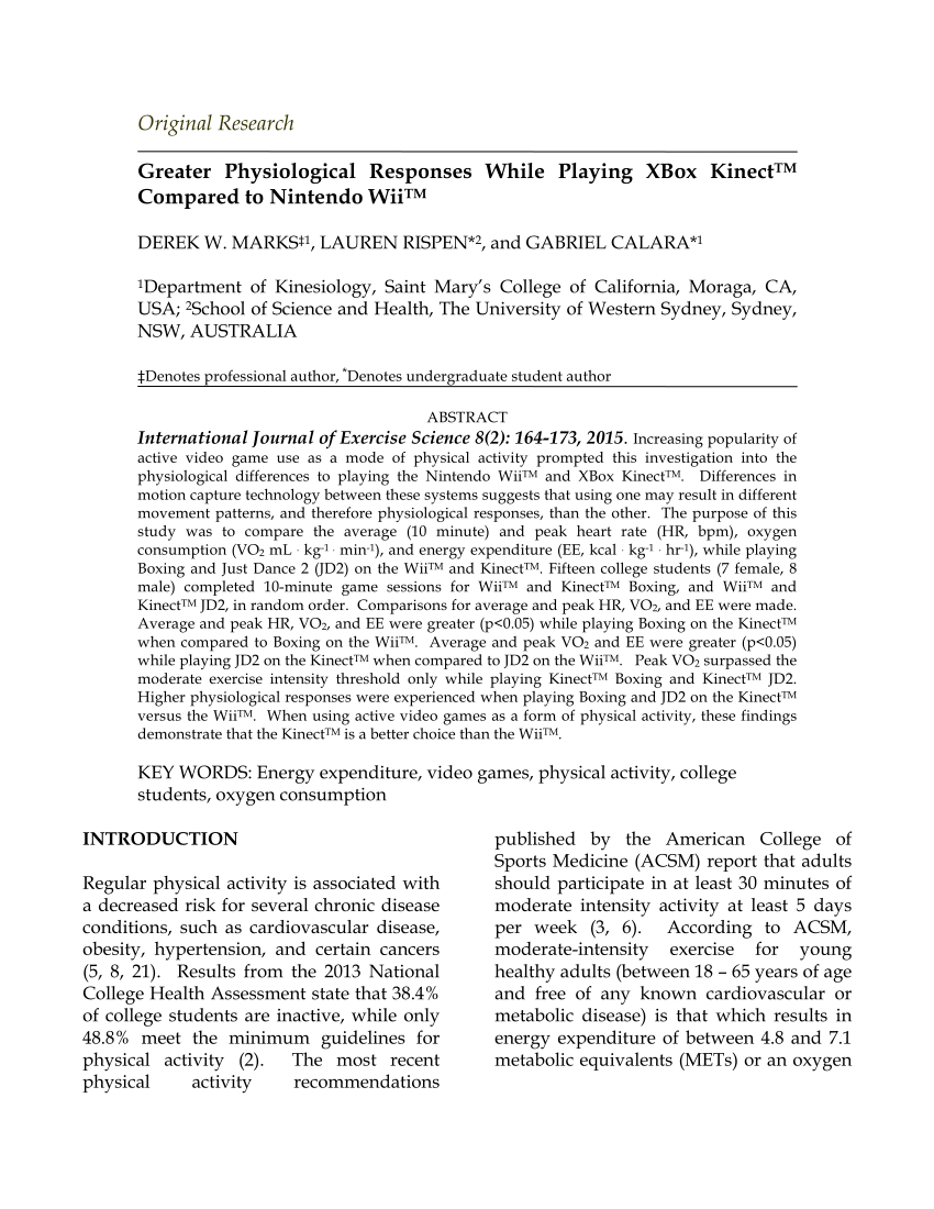 Pdf) Greater Physiological Responses While Playing Xbox Kinect in Moraga Live Edge Plasma Console Tables (Image 25 of 30)