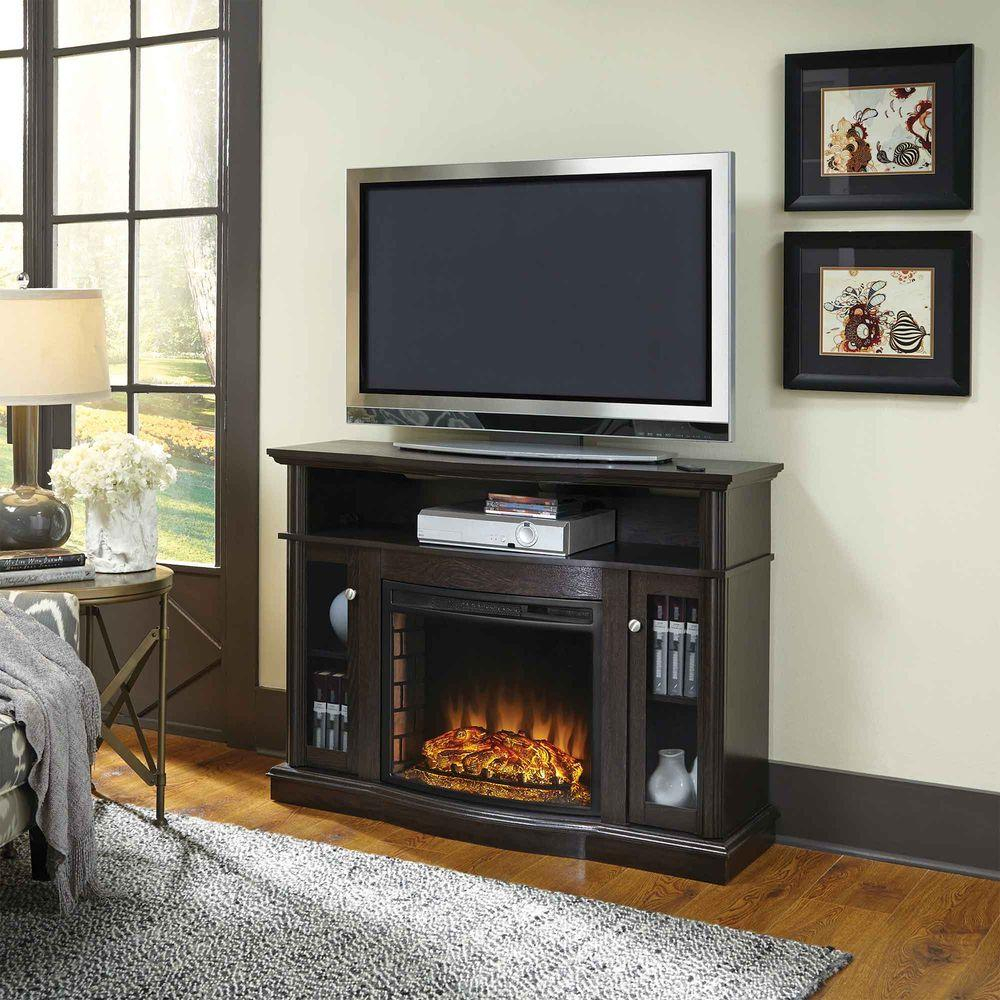 Pleasant Hearth Elliott 47 In. Media Electric Fireplace Tv Stand In for Wyatt 68 Inch Tv Stands (Image 15 of 30)