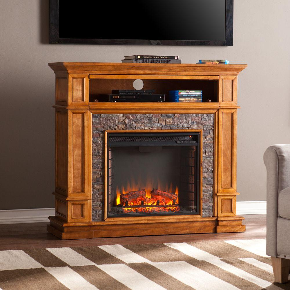 Pleasant Hearth Elliott 47 In. Media Electric Fireplace Tv Stand In Pertaining To Combs 63 Inch Tv Stands (Photo 23 of 30)