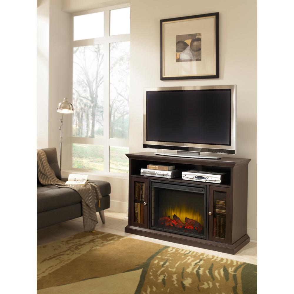 Pleasant Hearth Riley 47 In. Electric Fireplace Tv Stand Media Regarding Sinclair Grey 68 Inch Tv Stands (Photo 23 of 30)