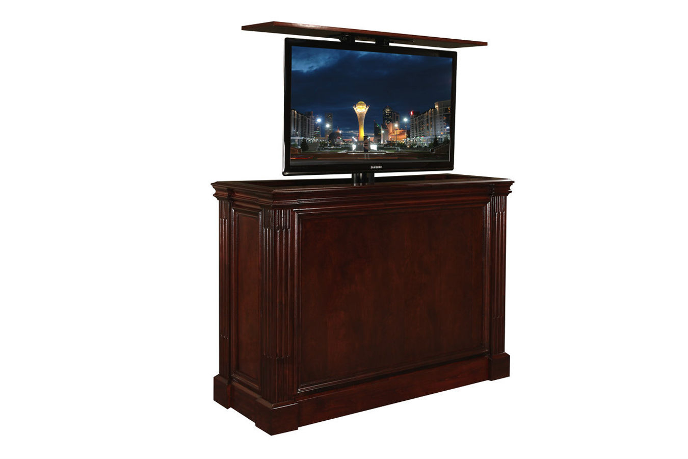 Pop Up Tv Stand | Ritz Cabernet Custom Retractable Tv Stand With Regard To Vista 68 Inch Tv Stands (View 3 of 30)