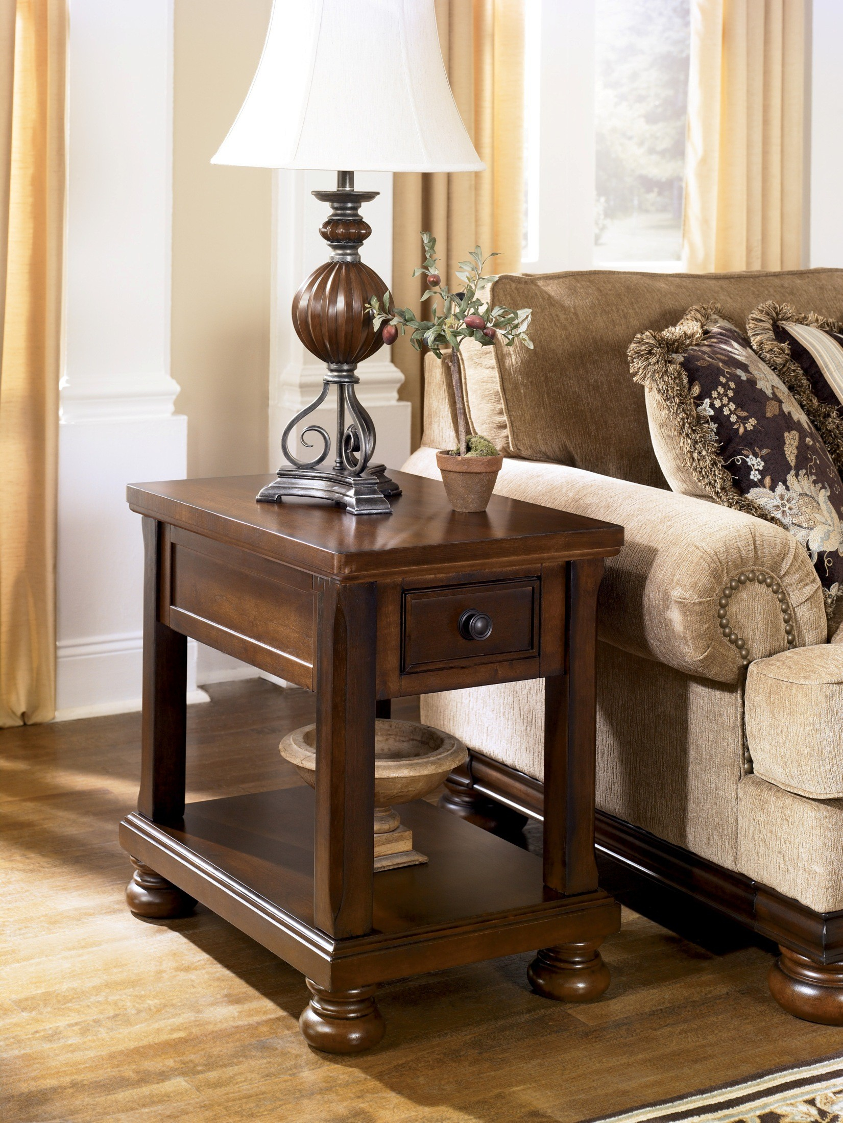 Porter Chairside End Table From Ashley (T697 3) | Coleman Furniture Pertaining To Noah Rustic White 66 Inch Tv Stands (Photo 23 of 30)