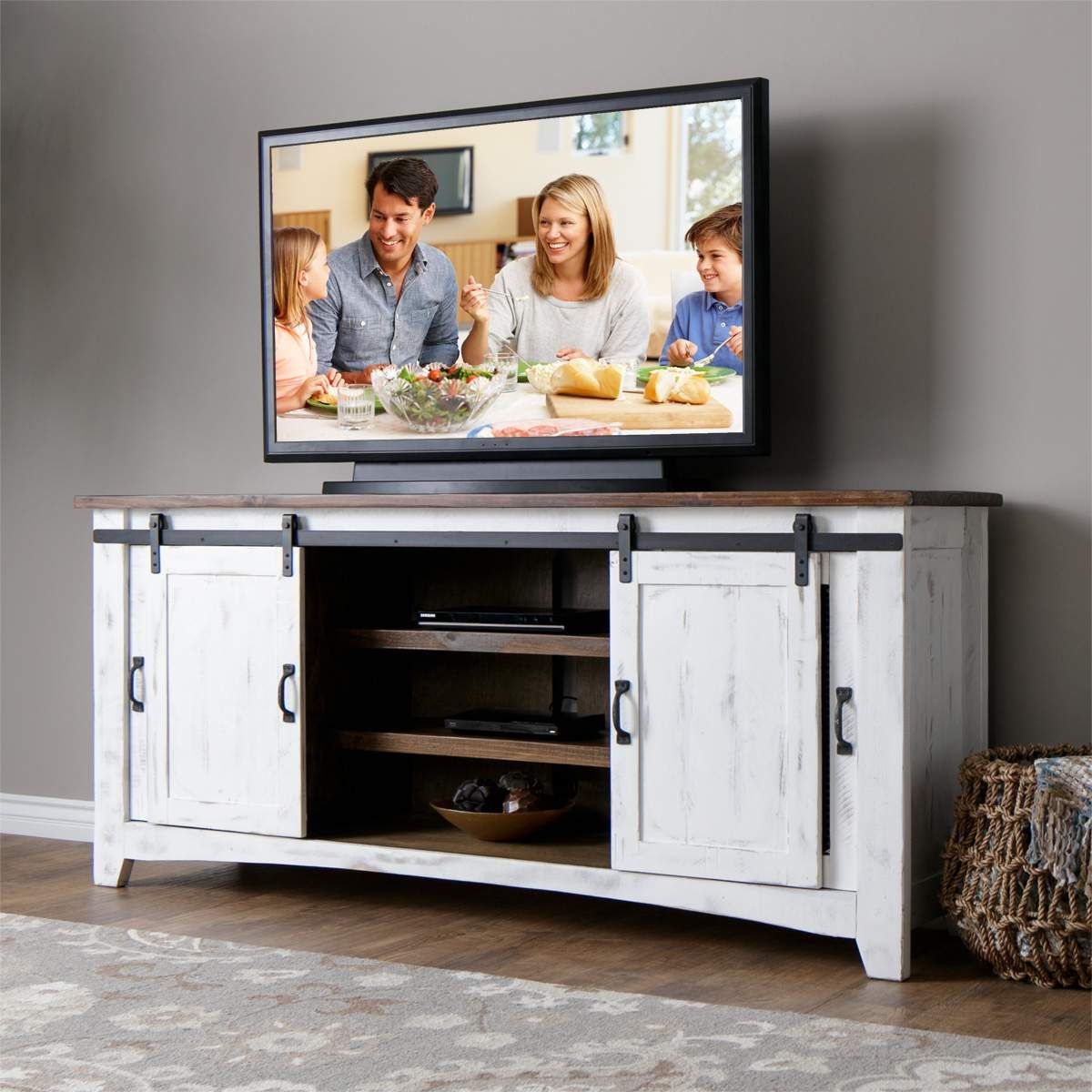 "Potter 80"" Tv Console In Rustic White In 2019 