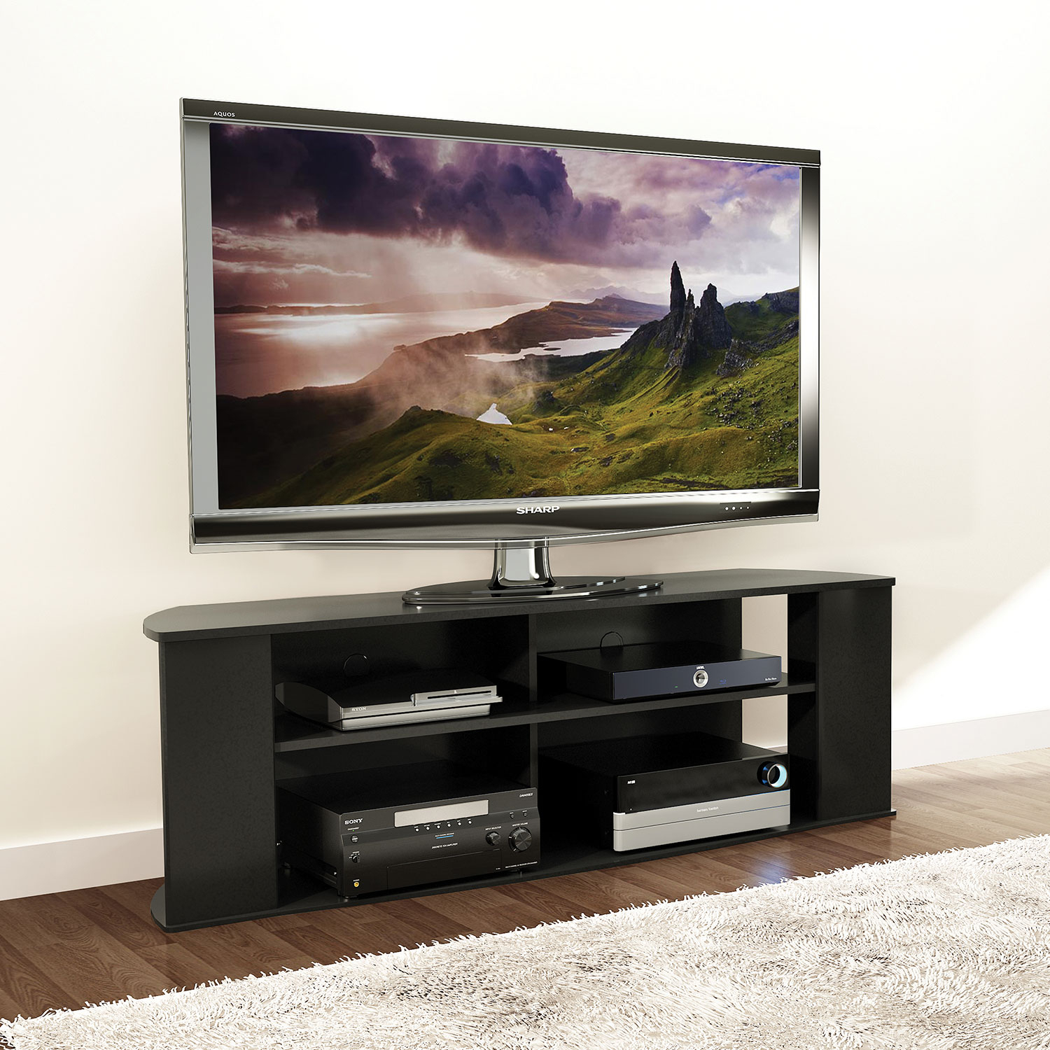 "Prefac Essentials 60"" Tv Stand   Black : Tv Stands   Best Buy Canada Throughout Valencia 70 Inch Tv Stands (Photo 6 of 30)"