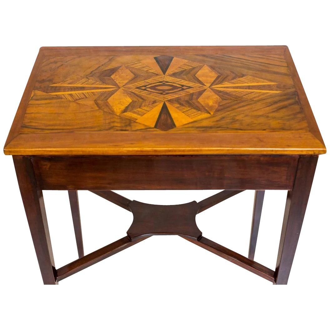 Prewar, Small Table With Intarsia : Antique Beauty | Ruby Lane In Intarsia Console Tables (Photo 23 of 30)