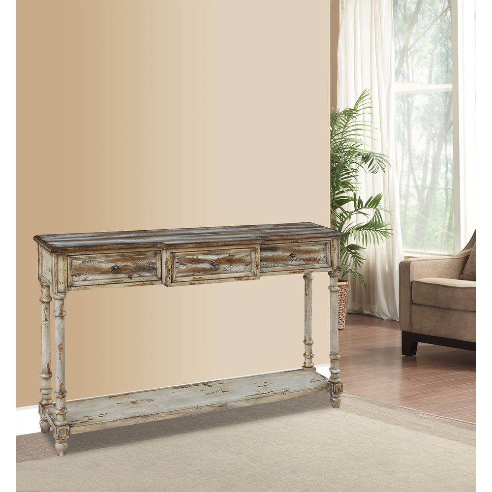 Pulaski Furniture Breakfront Multi-Tone Ivory Juliet Storage Console pertaining to Antique White Distressed Console Tables (Image 21 of 30)