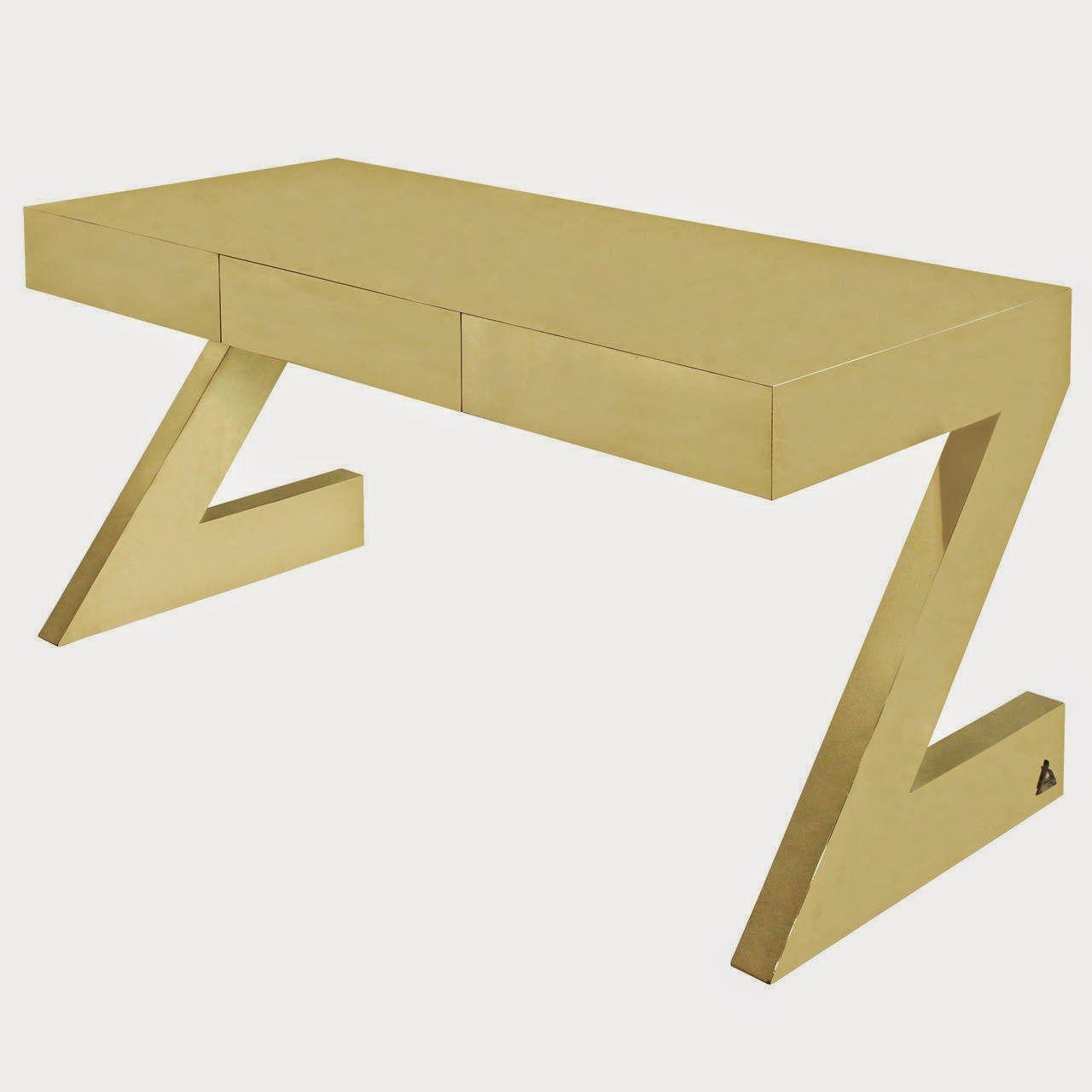 Rare And Important 'z Desk' In Brassgabriella Crespi, Signed regarding Phillip Brass Console Tables (Image 29 of 30)