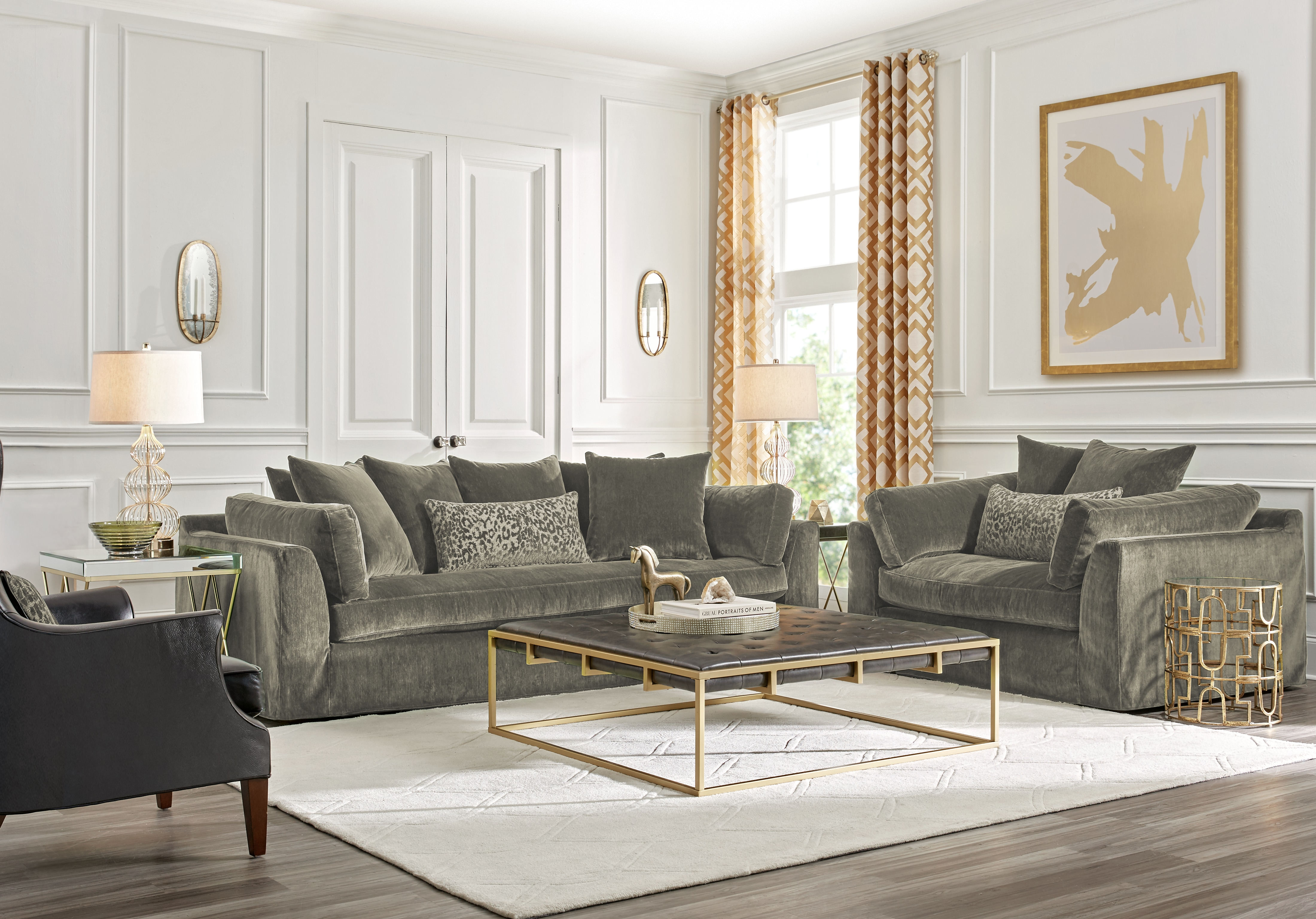 Raven Lane Gray 3 Pc Living Room – Living Room Sets (gray) With Raven Grey Tv Stands (View 17 of 30)
