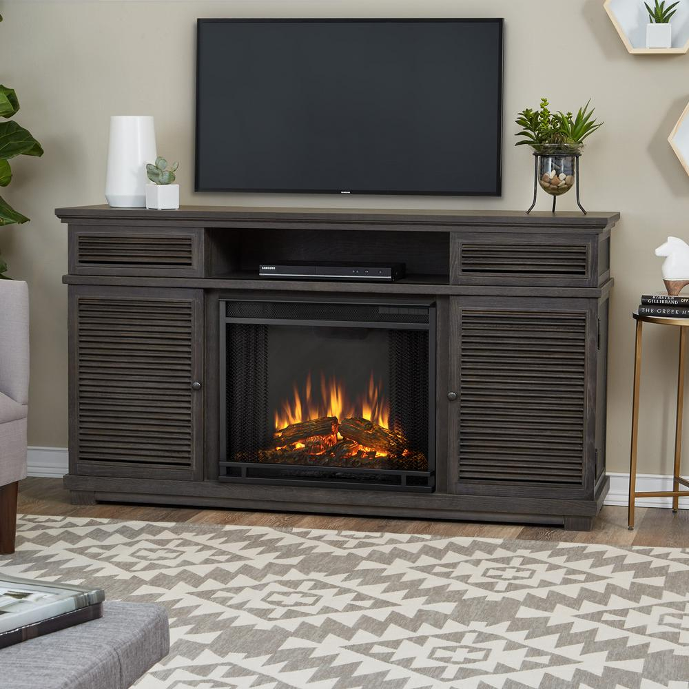 Real Flame Cavallo 59 In. Electric Fireplace Tv Stand Entertainment Within Kenzie 72 Inch Open Display Tv Stands (Gallery 27 of 30)