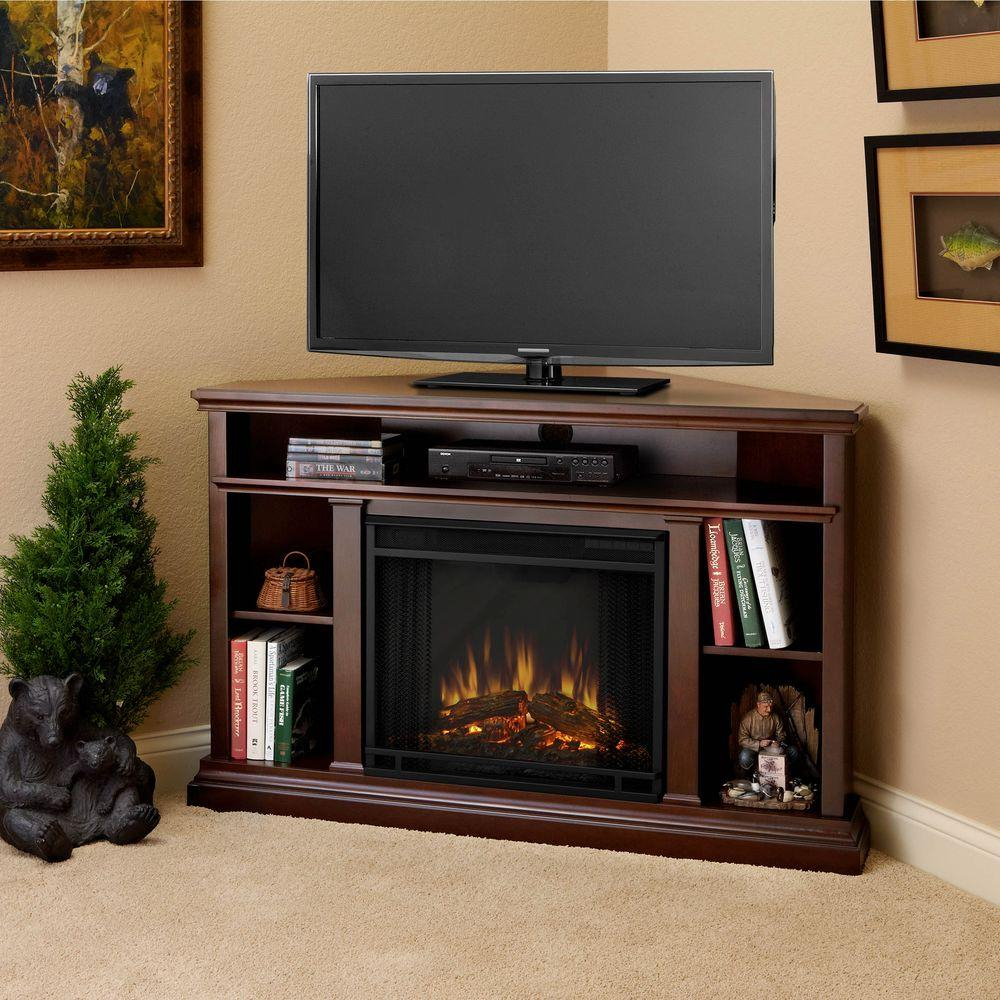 Real Flame Churchill 51 In. Corner Media Console Electric Fireplace for Casey Grey 66 Inch Tv Stands (Image 16 of 30)