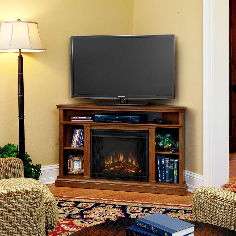 Real Flame Churchill 51 In. Corner Media Console Electric Fireplace inside Oak & Brass Stacking Media Console Tables (Image 21 of 30)