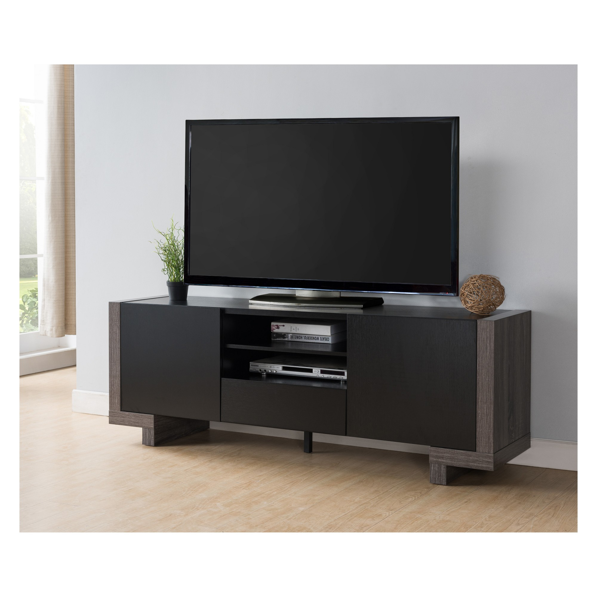 Rector Contemporary Six Shelves Tv Stand Distressed Gray - Homes within Rowan 64 Inch Tv Stands (Image 22 of 30)
