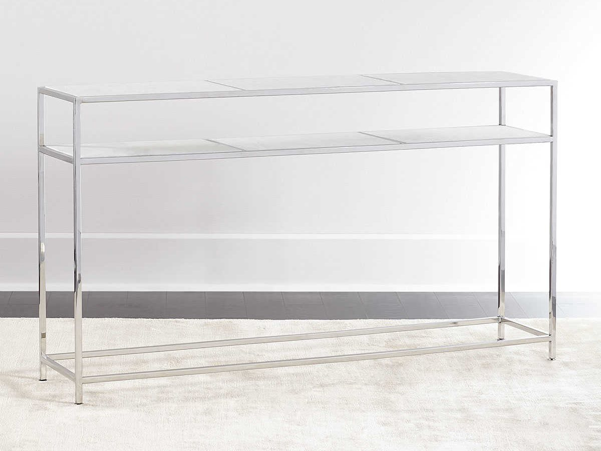 Regina Andrew Echelon Etched Marble With Polished Nickel 54''w X 12 Throughout Echelon Console Tables (View 6 of 30)