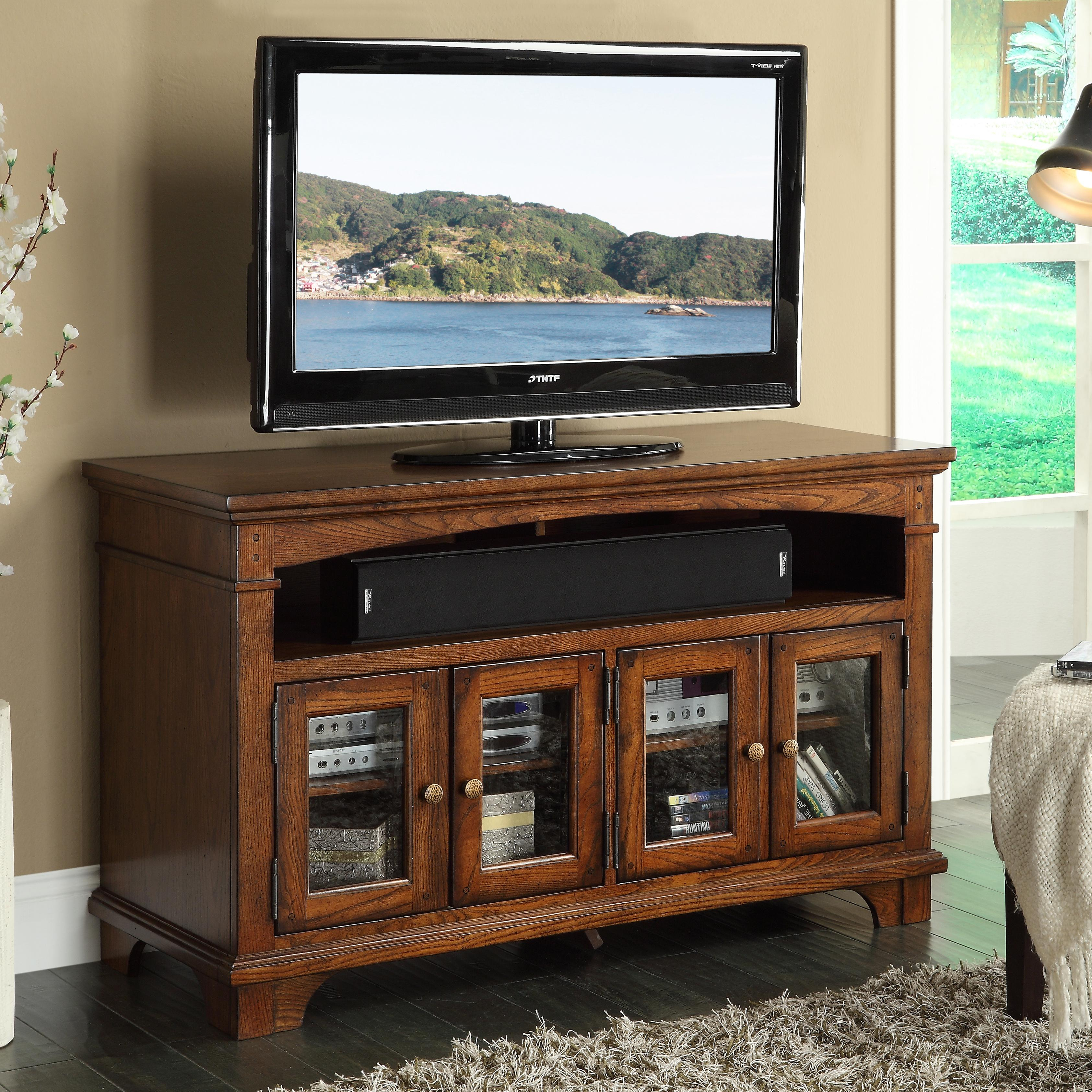 """Riverside Furniture Marston 60"""" Tv Console With Framed Glass Doors In Lauderdale 74 Inch Tv Stands (Gallery 10 of 30)"""