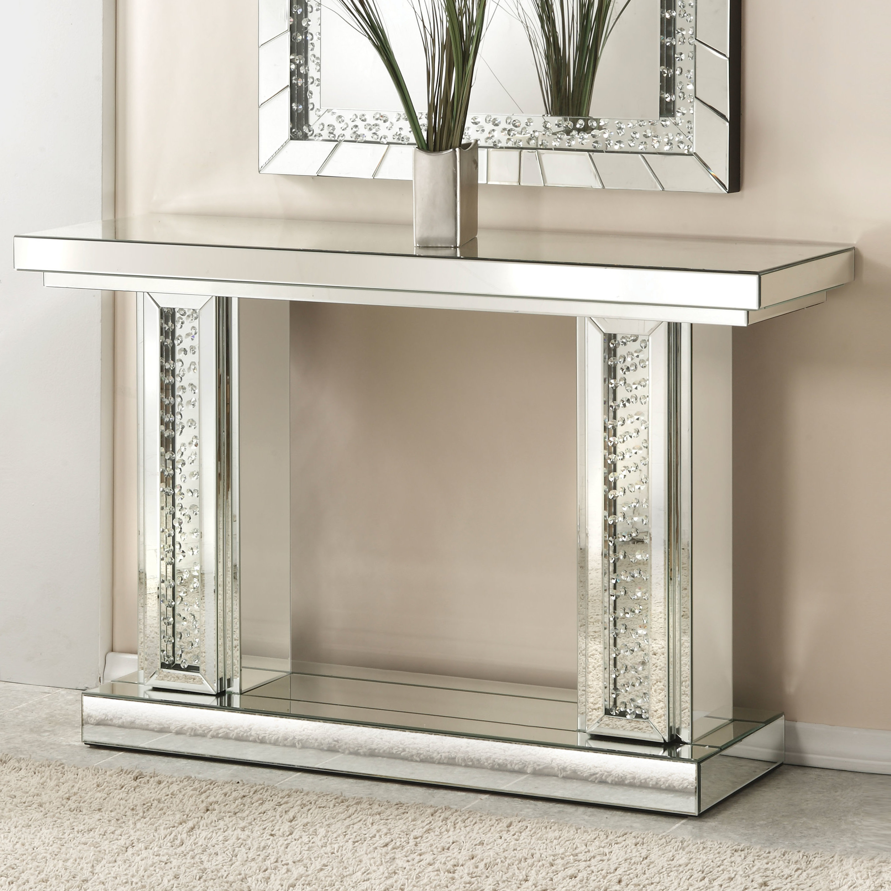 Rosdorf Park Longo Rectangle Mirrored Console Table & Reviews | Wayfair throughout Natural Wood Mirrored Media Console Tables (Image 23 of 30)