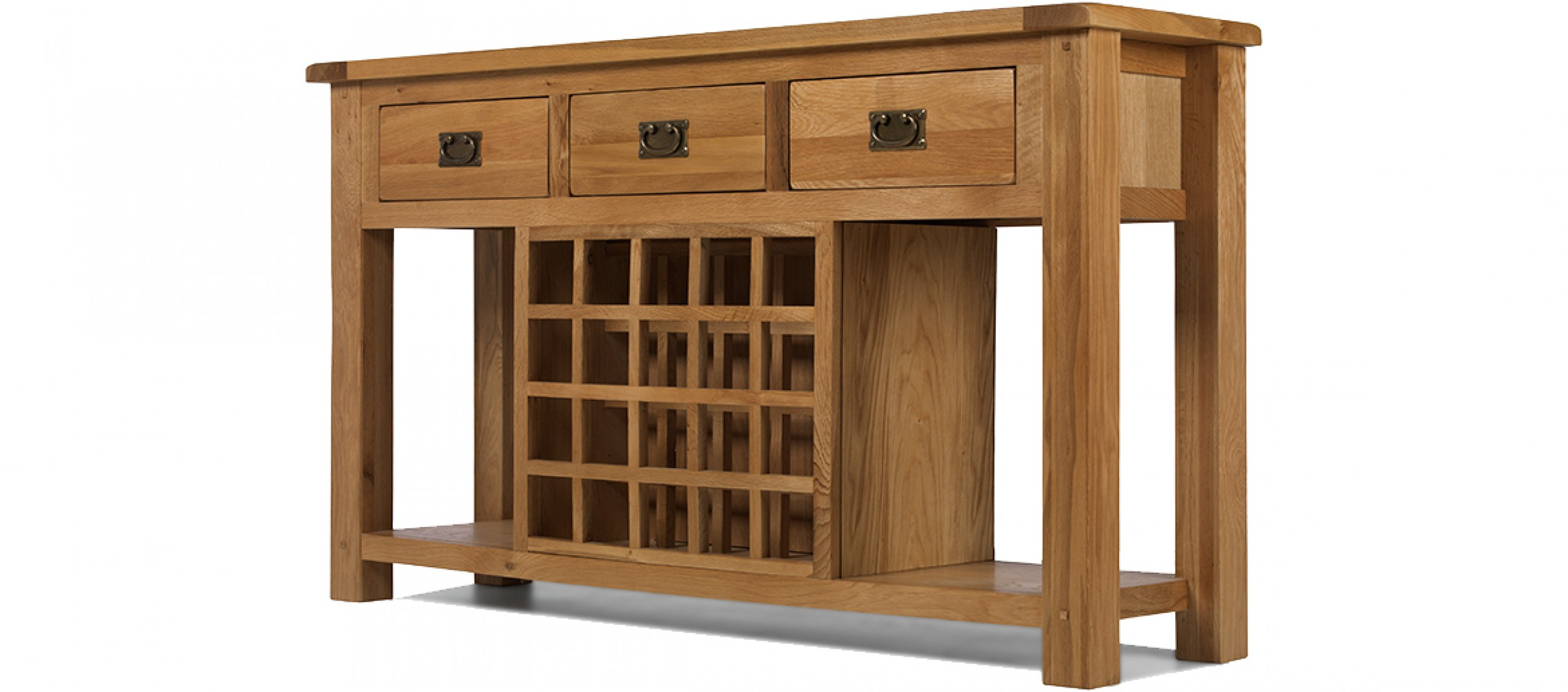 Rustic Oak Wine Rack Console Table | Quercus Living In Natural 2 Door Plasma Console Tables (Gallery 22 of 30)