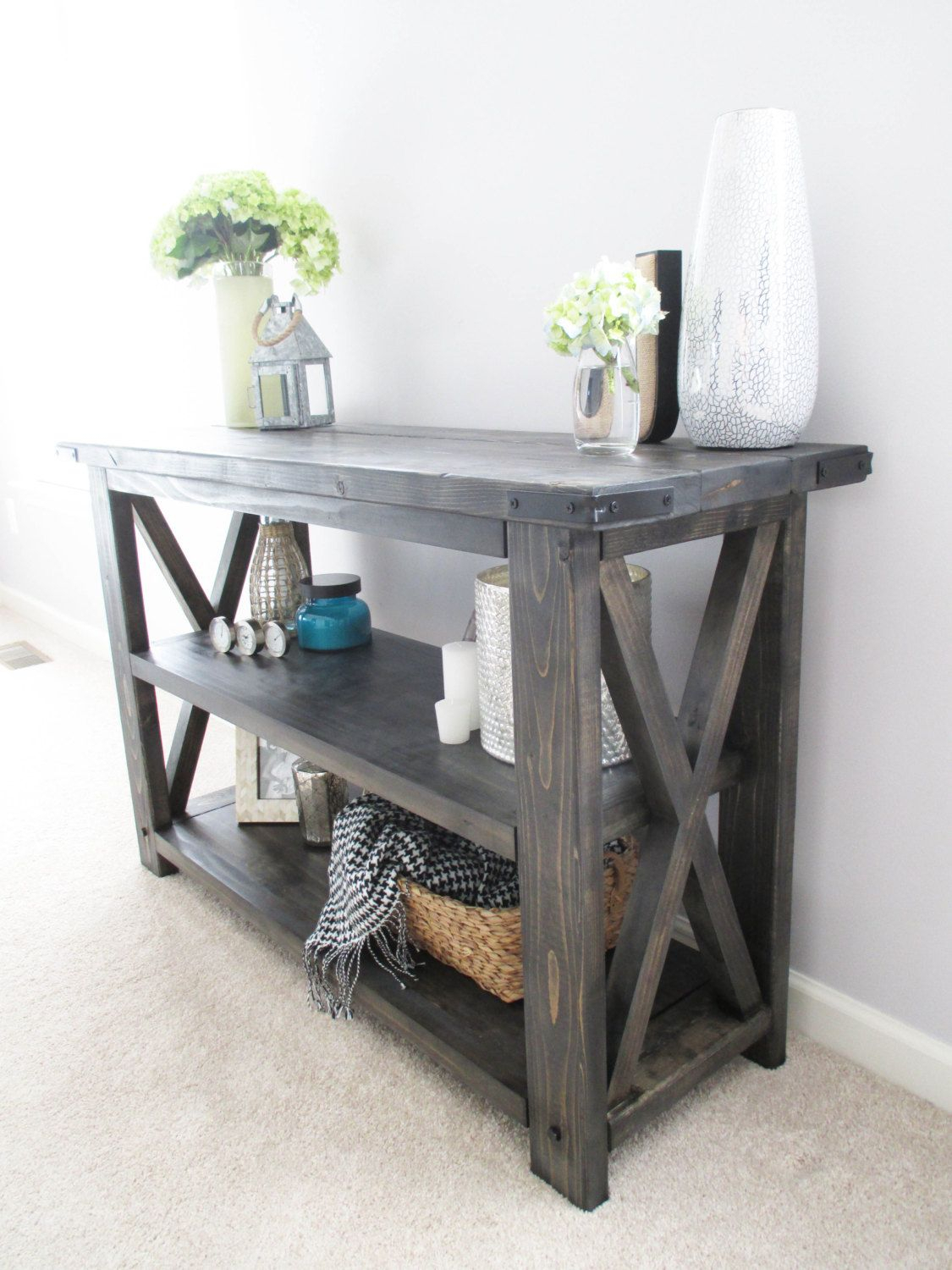 Rustic X Distressed Handmade Console / Media Table / Bookshelf - 48 with regard to Walters Media Console Tables (Image 18 of 30)