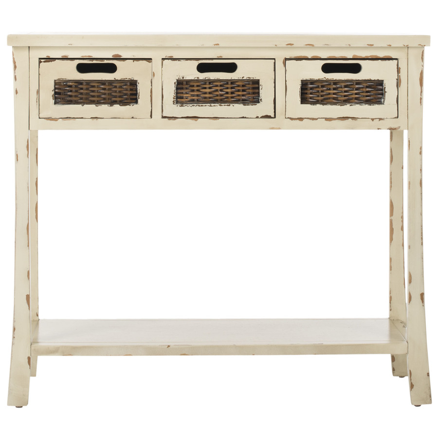 Safavieh Autumn Vintage Cream Wood Casual Console Table At Lowes For Antique White Distressed Console Tables (View 15 of 30)