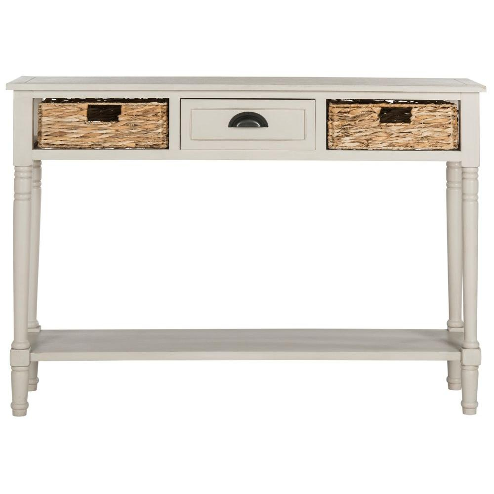 Safavieh Christa Vintage Gray Storage Console Table Amh5737d – The With Antique White Distressed Console Tables (View 12 of 30)