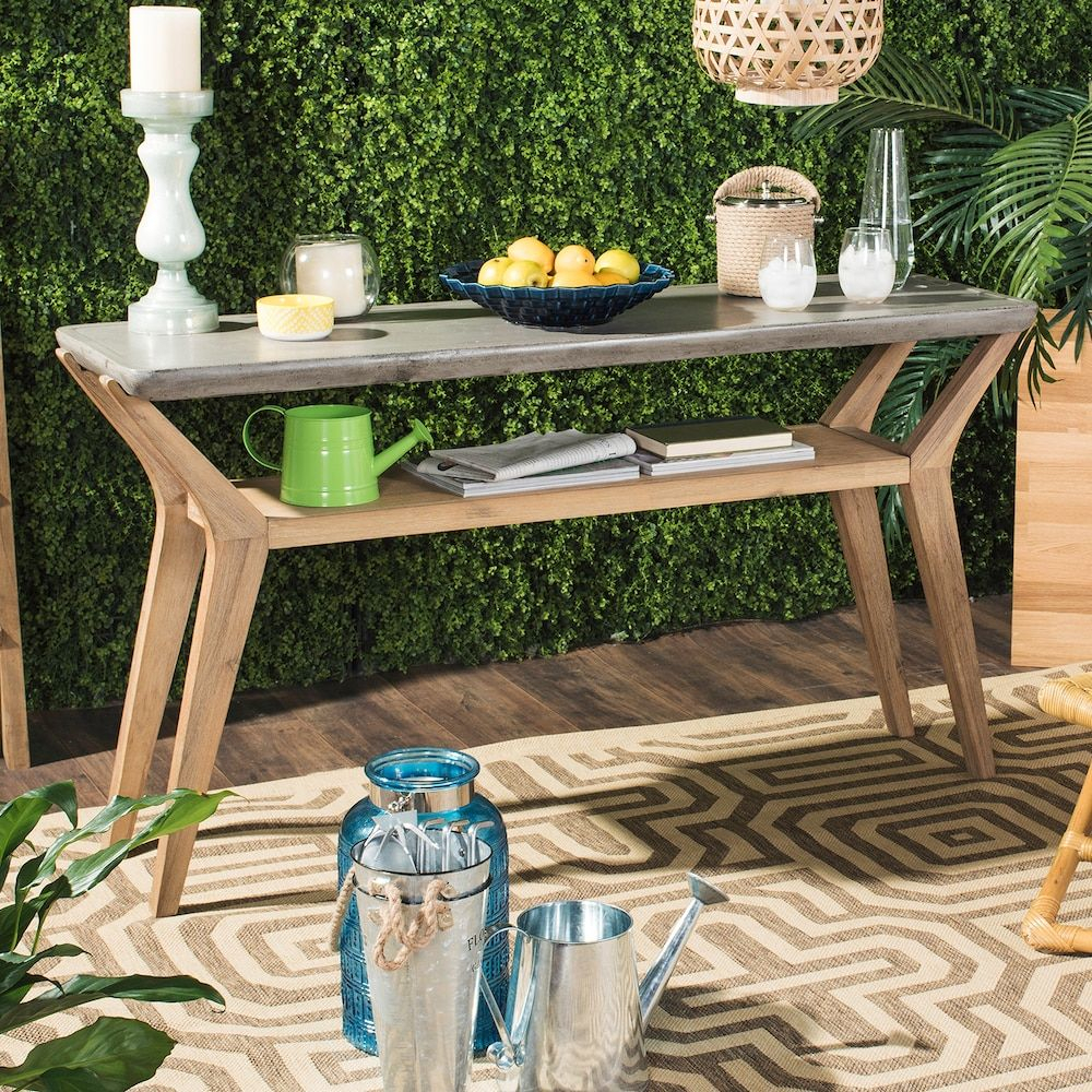 Safavieh Concrete & Wood Indoor / Outdoor Storage Console Table In intended for Yukon Grey Console Tables (Image 16 of 30)