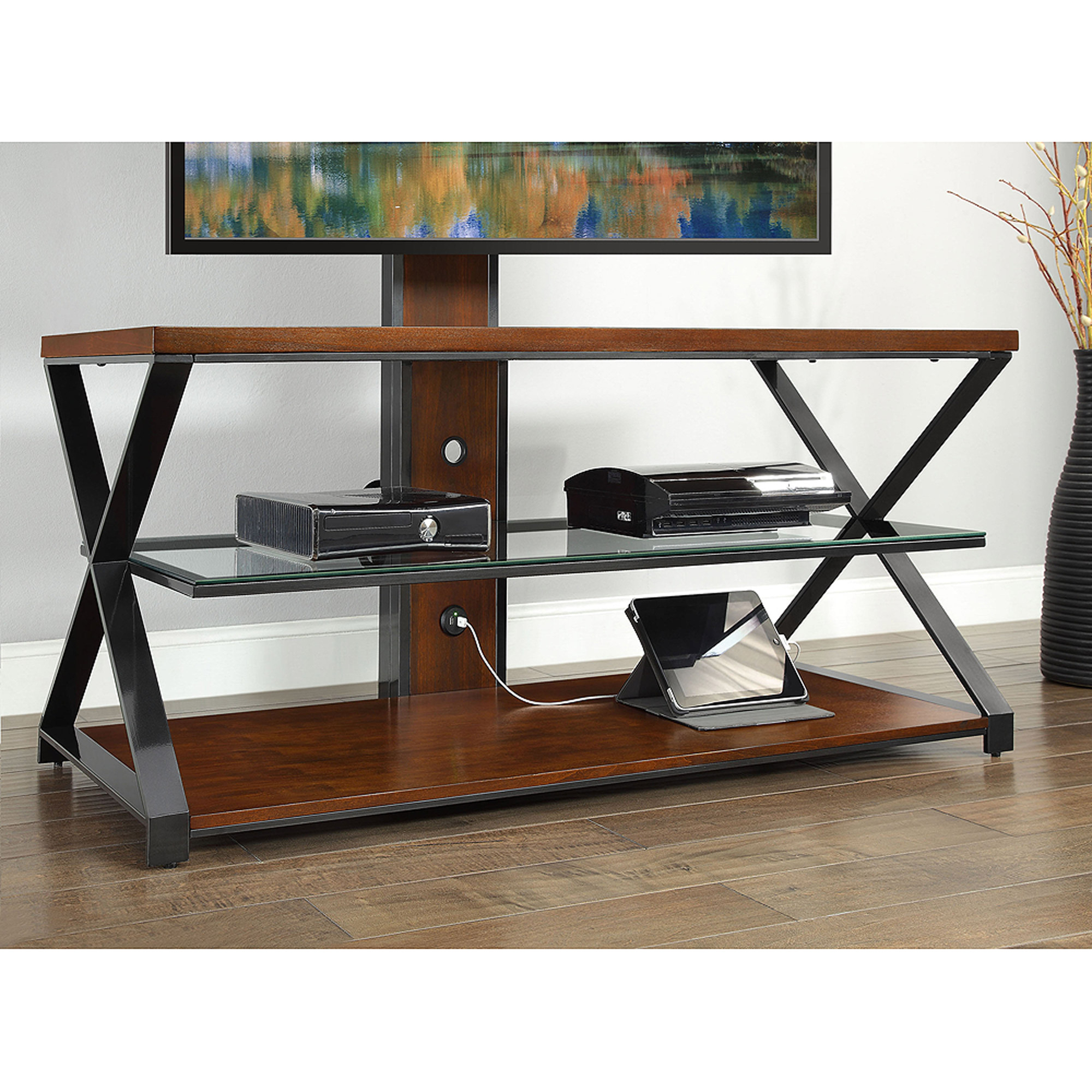 Sarah Tv Stands: Jaxon 3-In-1 Cognac Tv Stand For Tvs Up To 70'' in Jaxon 65 Inch Tv Stands (Image 21 of 30)