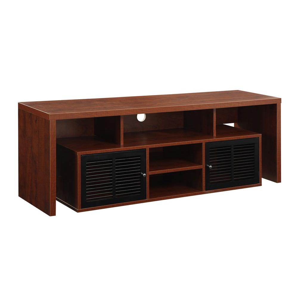 Sauder Beginnings Cinnamon Cherry Shelved Entertainment Center With Lauderdale 74 Inch Tv Stands (View 22 of 30)