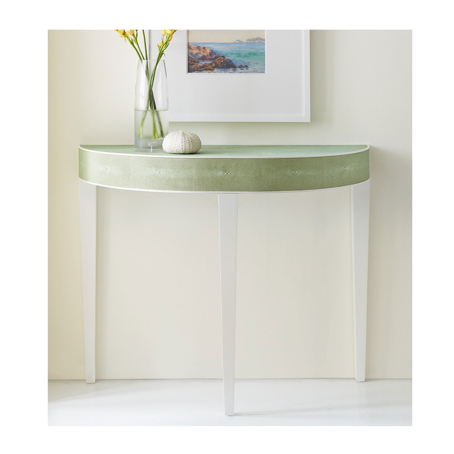 Shagreen Console Demilune Regarding Grey Shagreen Media Console Tables (View 24 of 30)