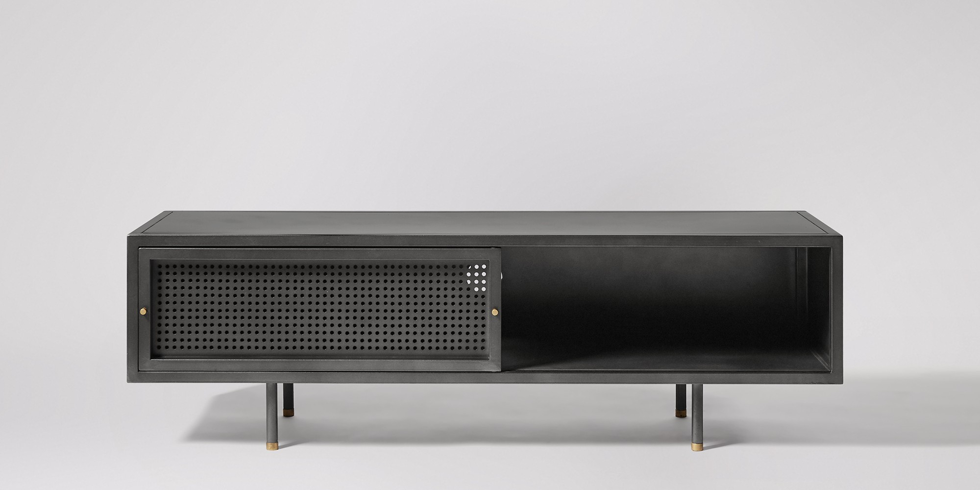Sheffield Gunmetal & Brass Media Unit | Swoon Editions In Gunmetal Perforated Brass Media Console Tables (View 19 of 30)