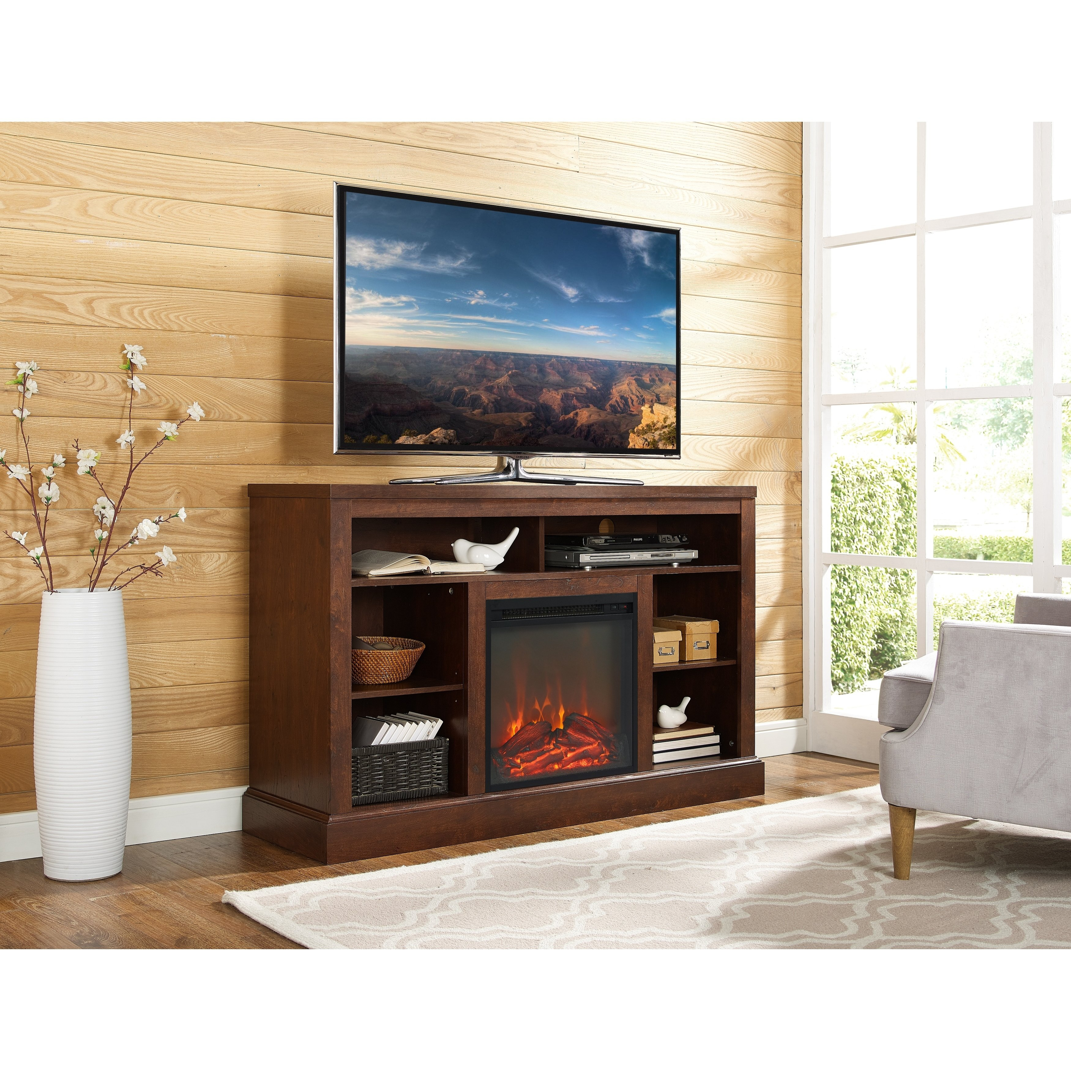 "Shop 52"" Highboy Fireplace Tv Stand Console - Traditional Brown - 52 for Canyon 64 Inch Tv Stands (Image 21 of 30)"