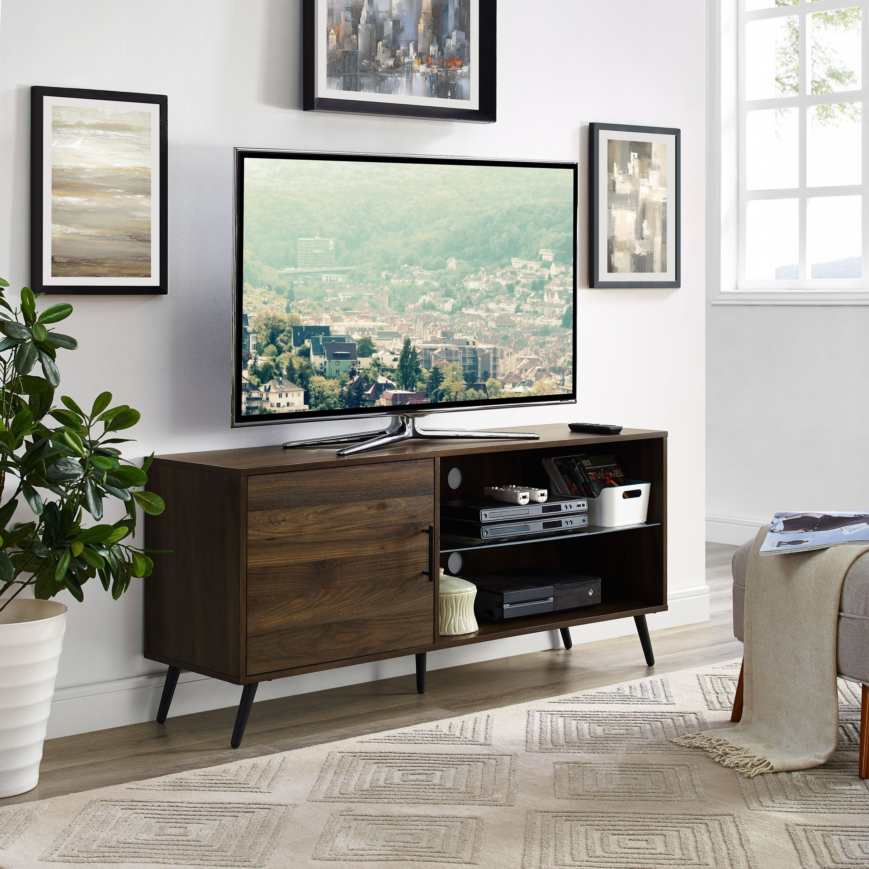 "Shop 52"" Mid-Century Modern Tv Stand Media Console With Hidden inside Canyon 54 Inch Tv Stands (Image 18 of 30)"