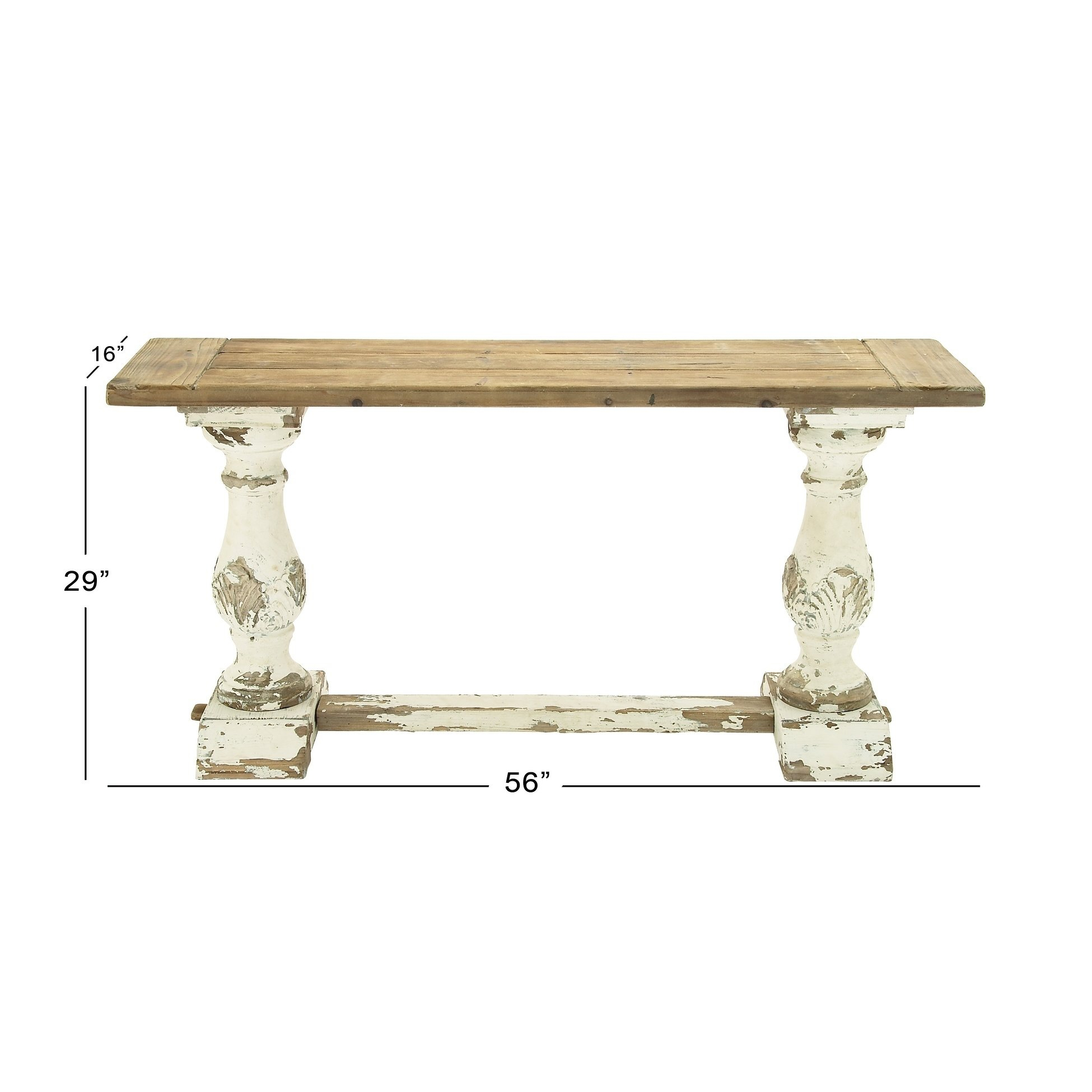 """Shop 59"""" X 29"""" Antique Wood & Distressed White Console Table Pertaining To Antique White Distressed Console Tables (View 18 of 30)"""
