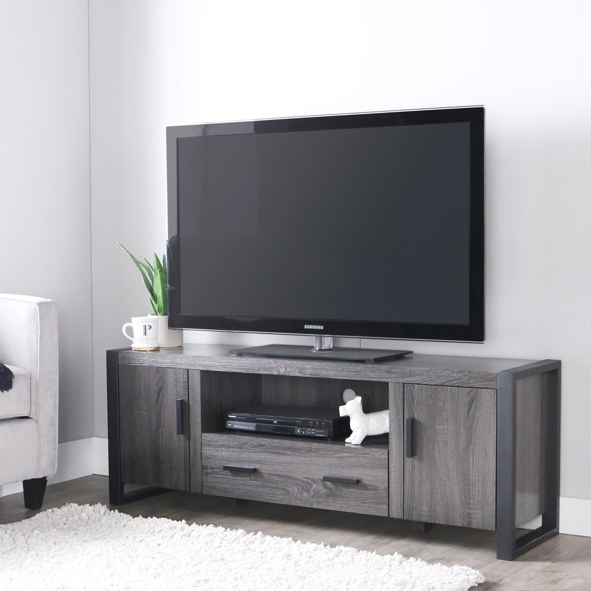 "Shop 60"" Urban Blend Tv Stand Console - Charcoal - Free Shipping regarding Century Blue 60 Inch Tv Stands (Image 17 of 30)"