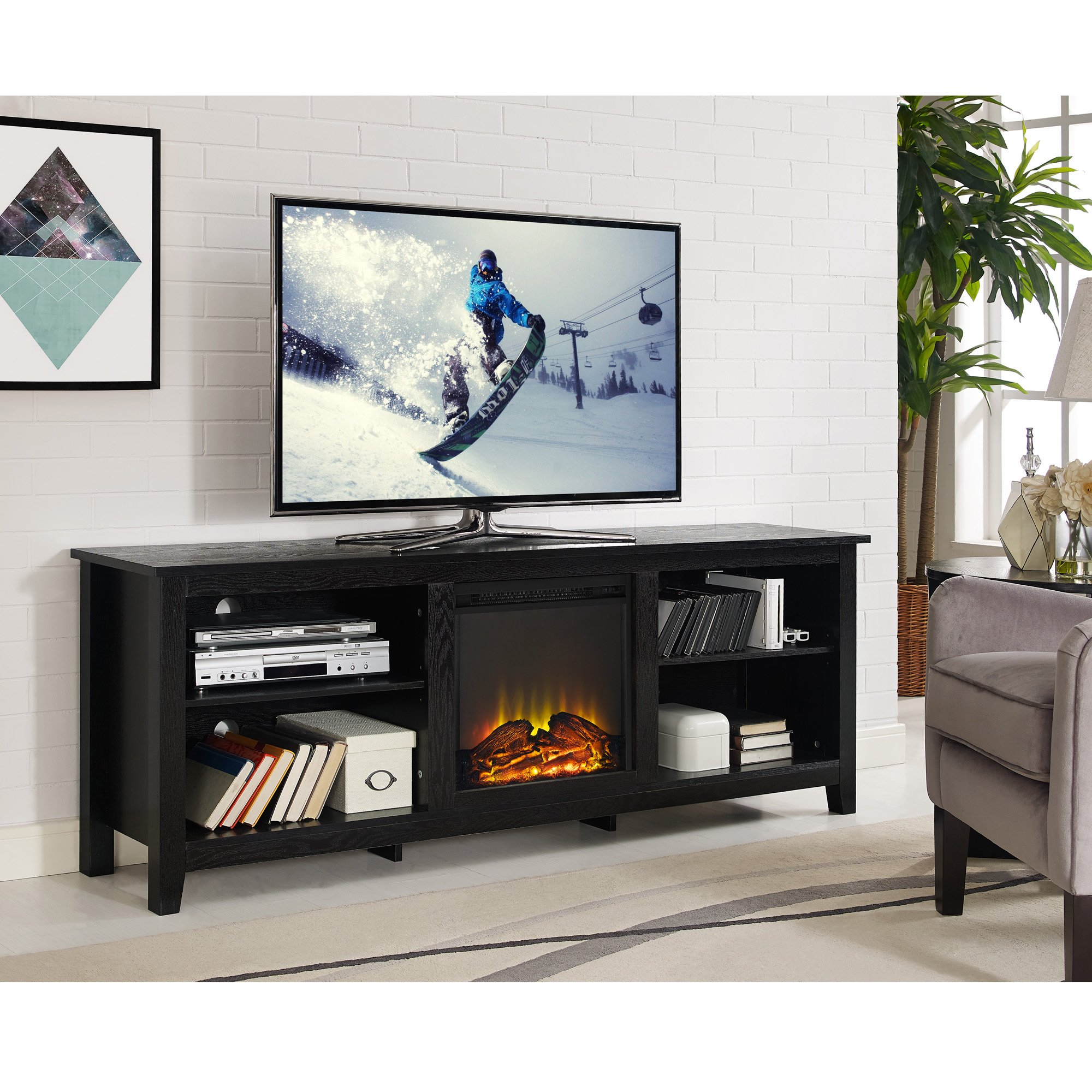 "Shop 70"" Fireplace Tv Stand Console – Black – 70 X 16 X 24h – Free Regarding Laurent 70 Inch Tv Stands (View 2 of 30)"