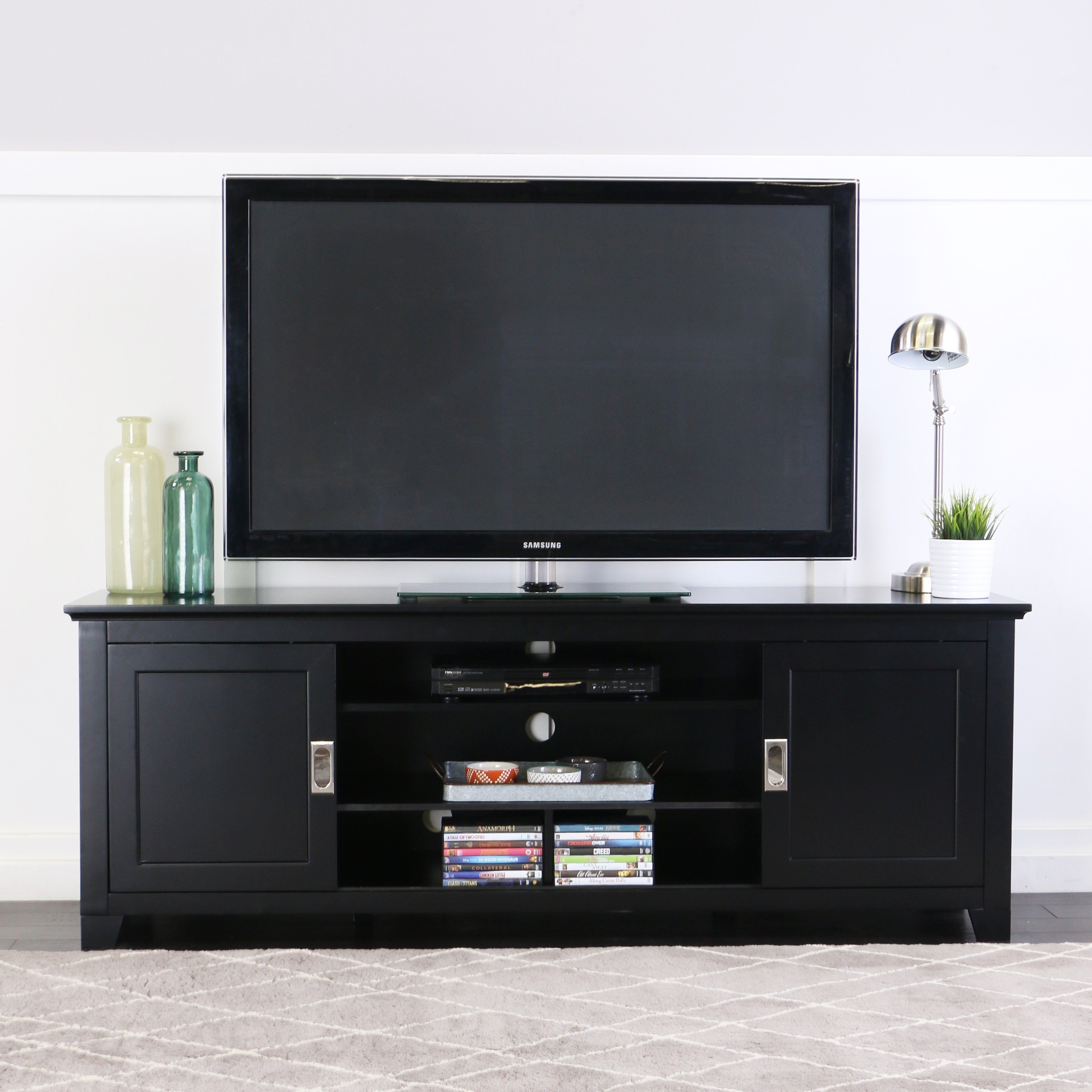 """Shop 70"""" Tv Stand Console With Sliding Doors – Black – 70 X 18 X 25H In Century Sky 60 Inch Tv Stands (View 23 of 30)"""