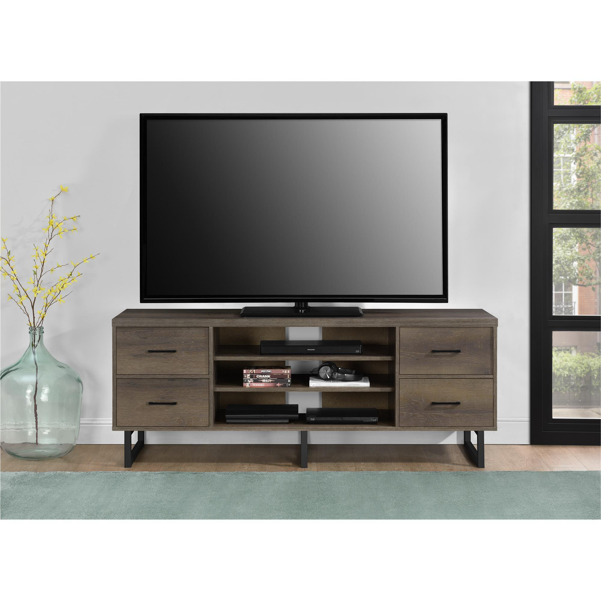 Shop Ameriwood Home Candon Sonoma Mocha Oak 60-Inch Tv Stand With with regard to Canyon 54 Inch Tv Stands (Image 19 of 30)